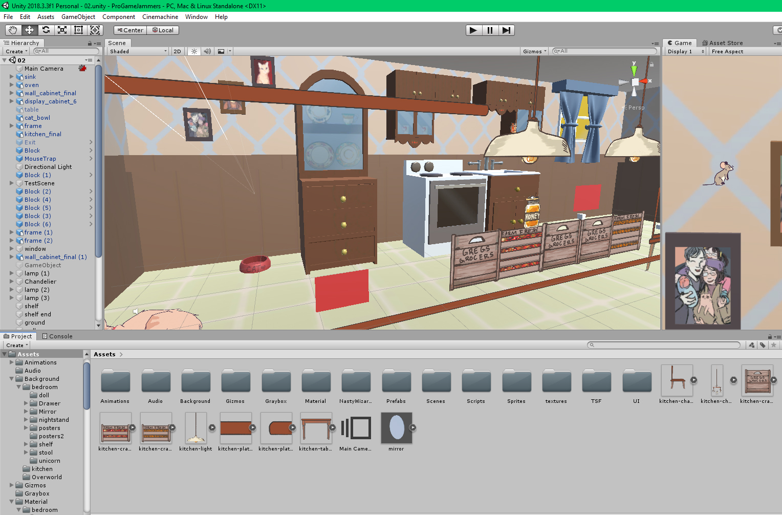 The kitchen, laid out in Unity…