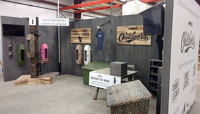 Putting the finishing touches on our booth before loading up for @deerfest #mekcooutdoors #huntlocker #timberlocker #madeinwisconsin #builtforthenextgeneration @conceptworks