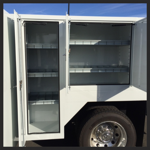 Concrete Saw Body (Service Body Type) - Left Side Center Cabinet 60x20x23 &Rear Cabinet 36x36x23