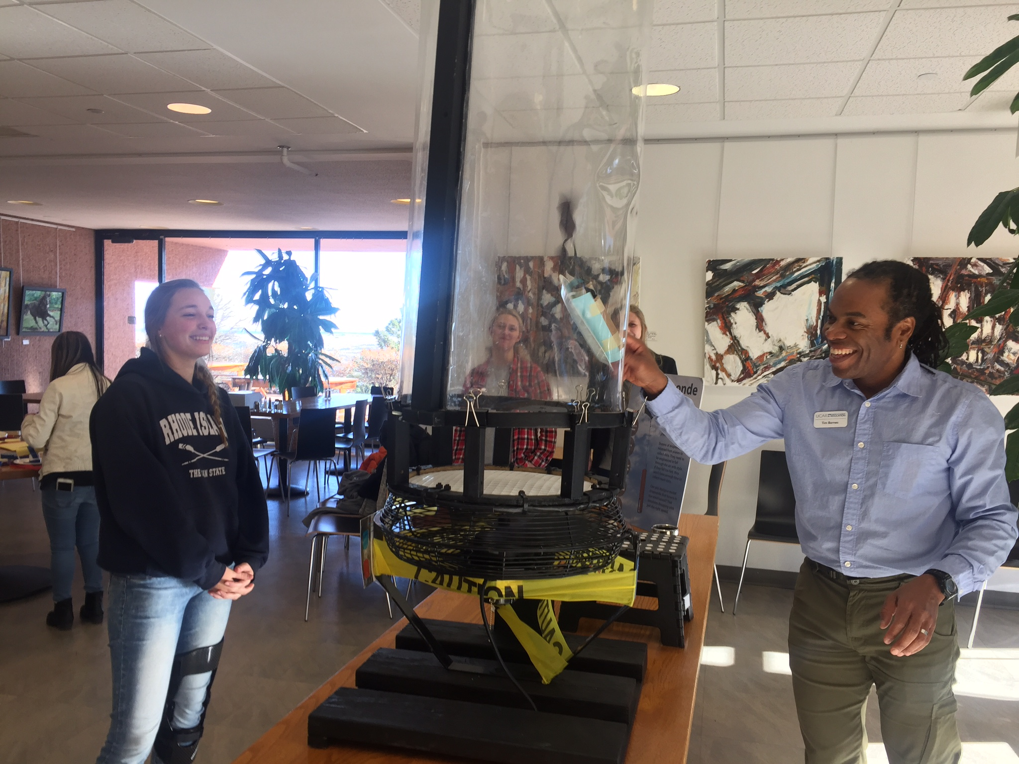 Students were able to create their own dropsondes to drop into a wind tunnel at the National Center for Atmospheric Research (NCAR) in Boulder