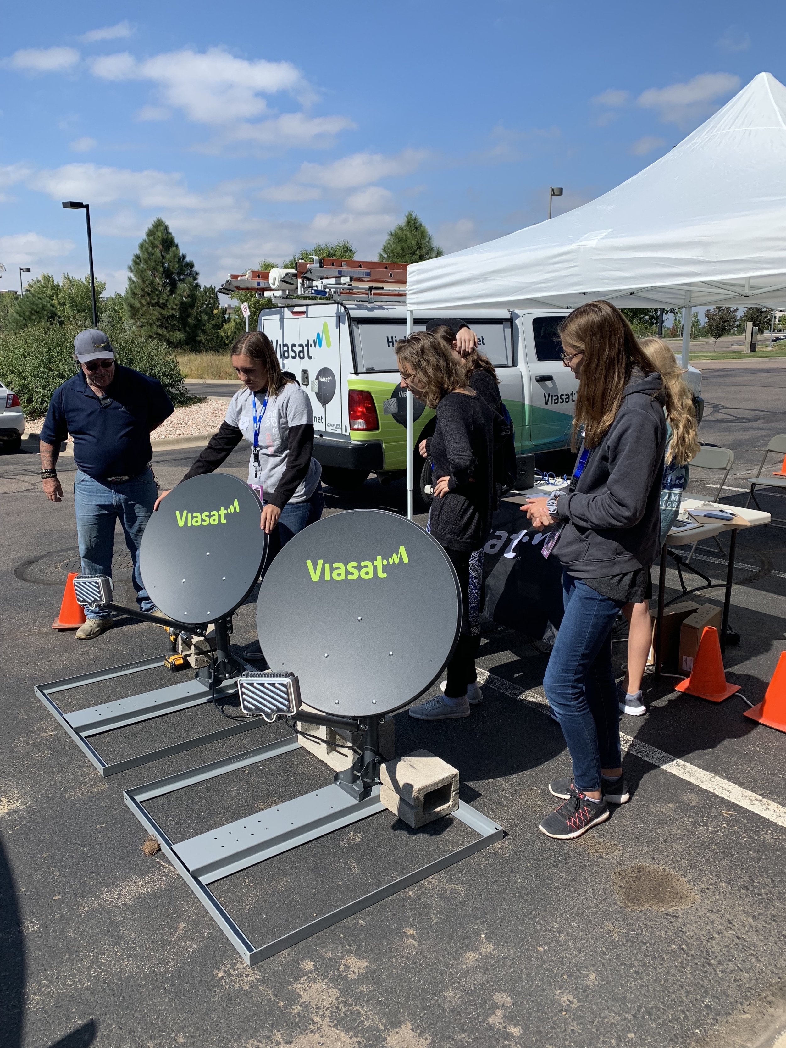 "The ""Point & Peak"" activity provided students an opportunity to connect the antennas (dish) on the ground and communicate with a working ViaSat satellite in space."