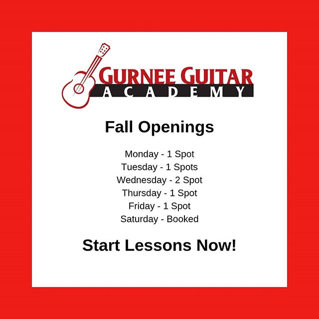 Updated for September.  Two spots will be claimed before the week is out.  I won't be teaching as many students this year.  Get in. Make It Real. 💪🎸👑
