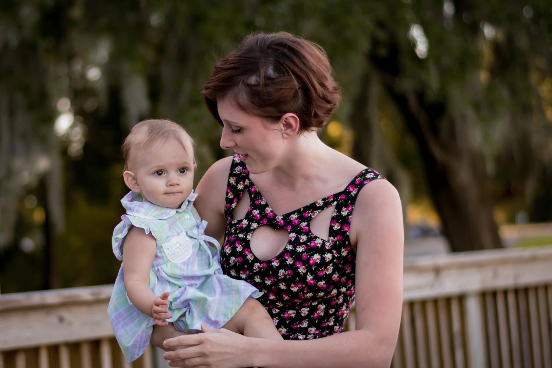 baby girl and mama
