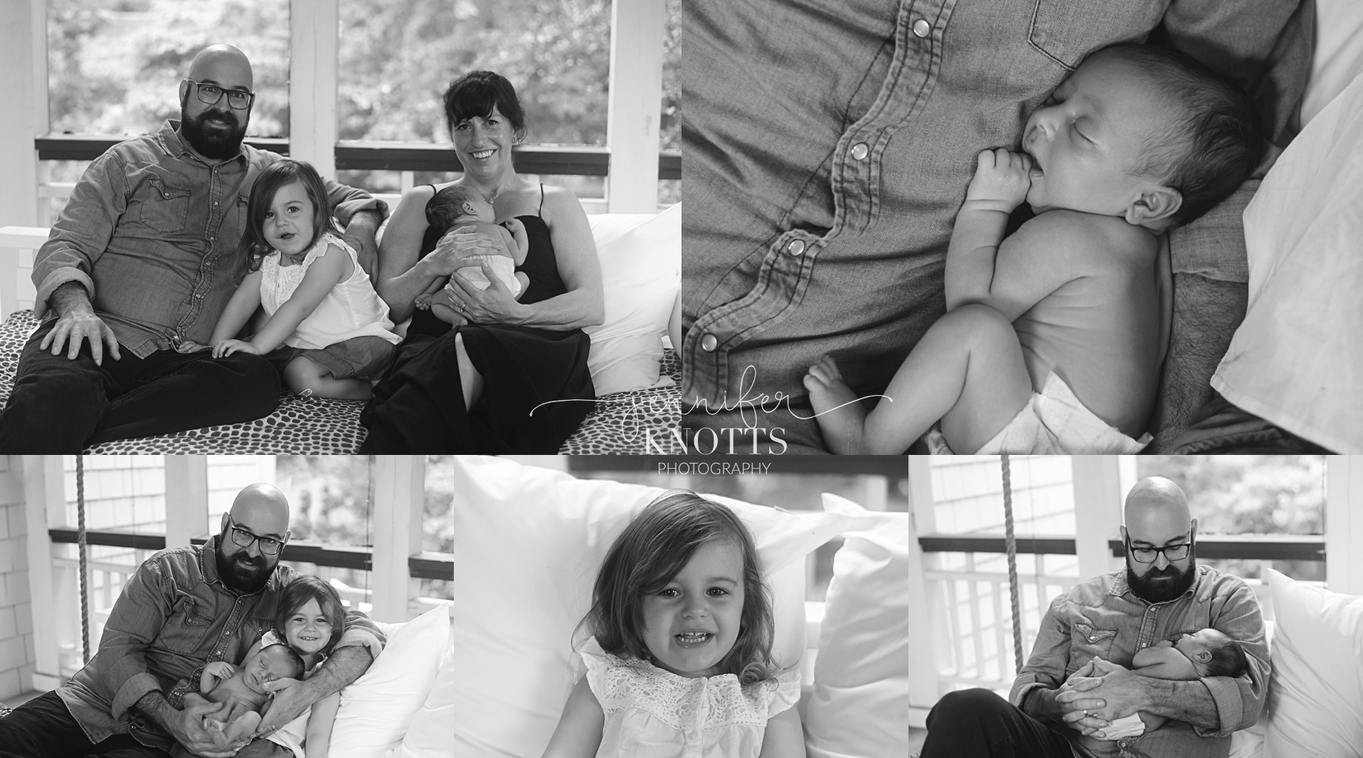 black and white collage of mom, dad, and sister holding baby boy during photography session