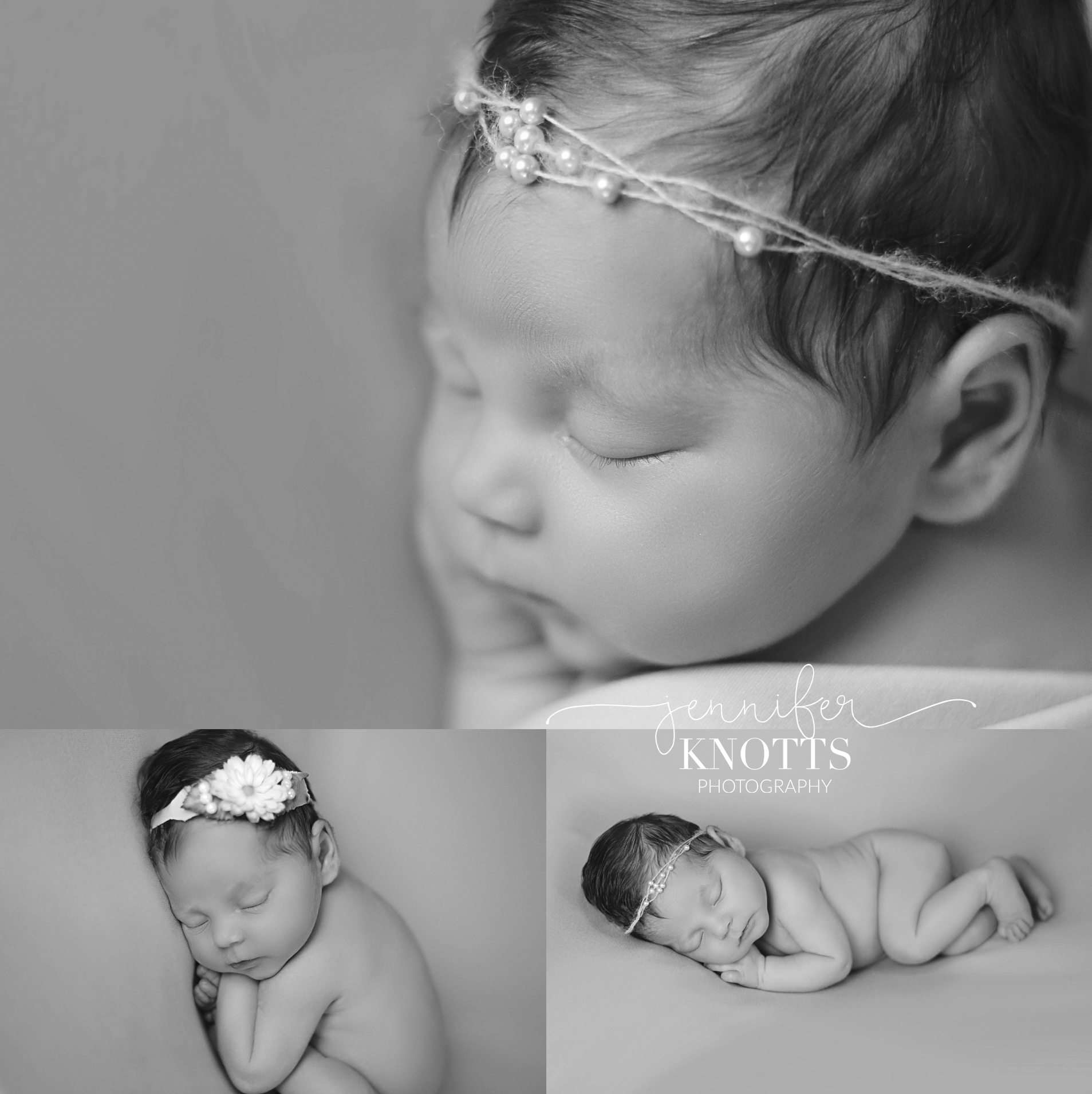black and white images of newborn girl sleeping with flower and pearl headbands