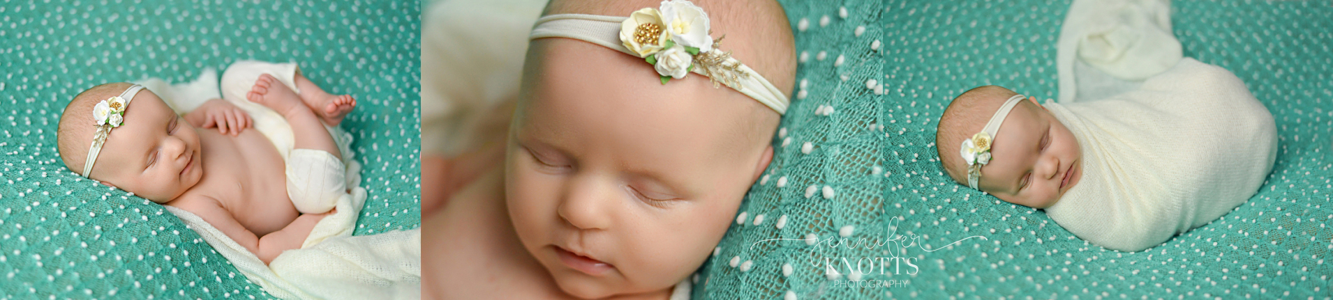 baby girl sleeps on teal and white blanket wearing floral headband