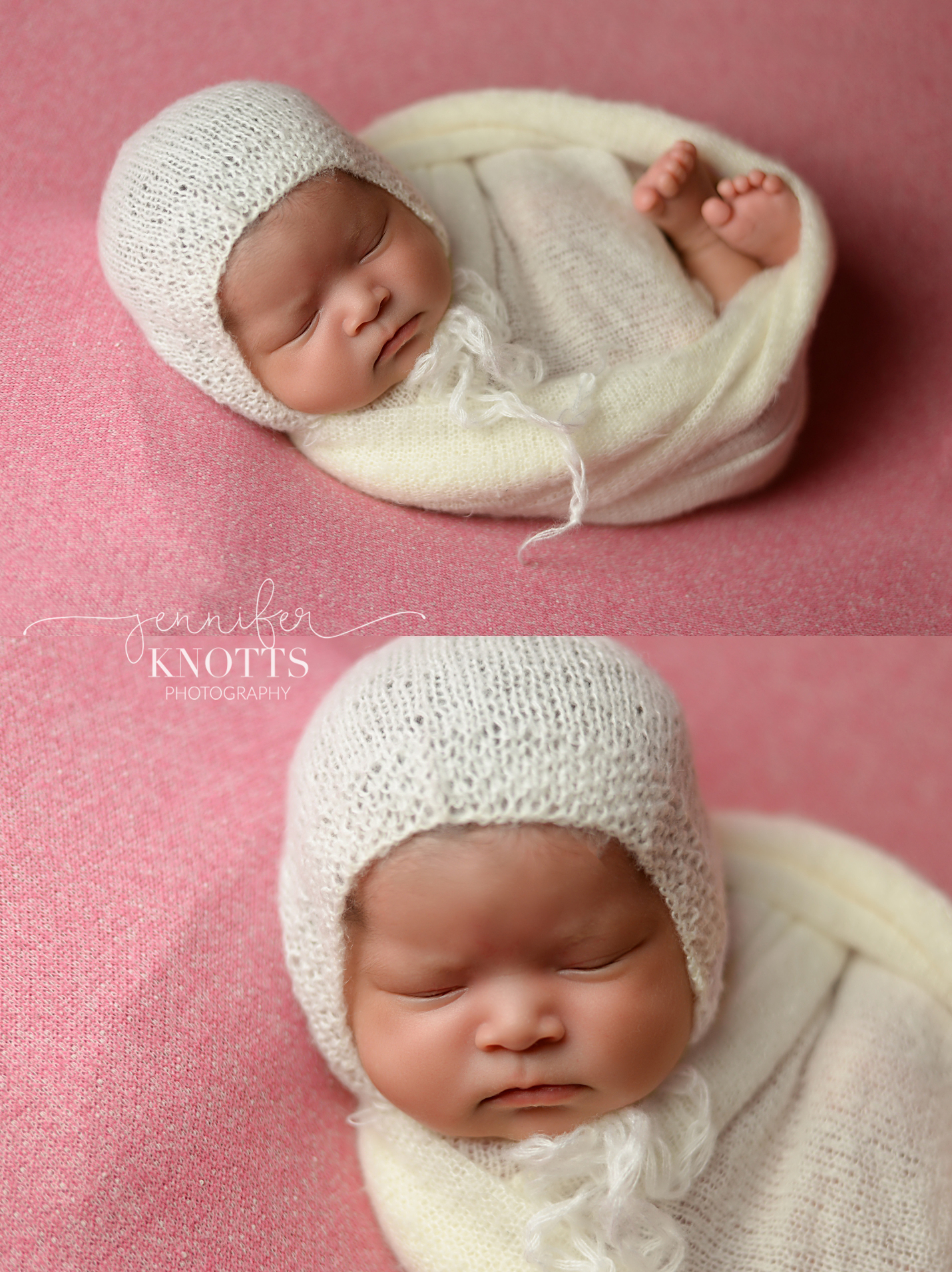 baby girl sleeps on pink fabric wearing white bonnet and wrap during Wilmington newborn session