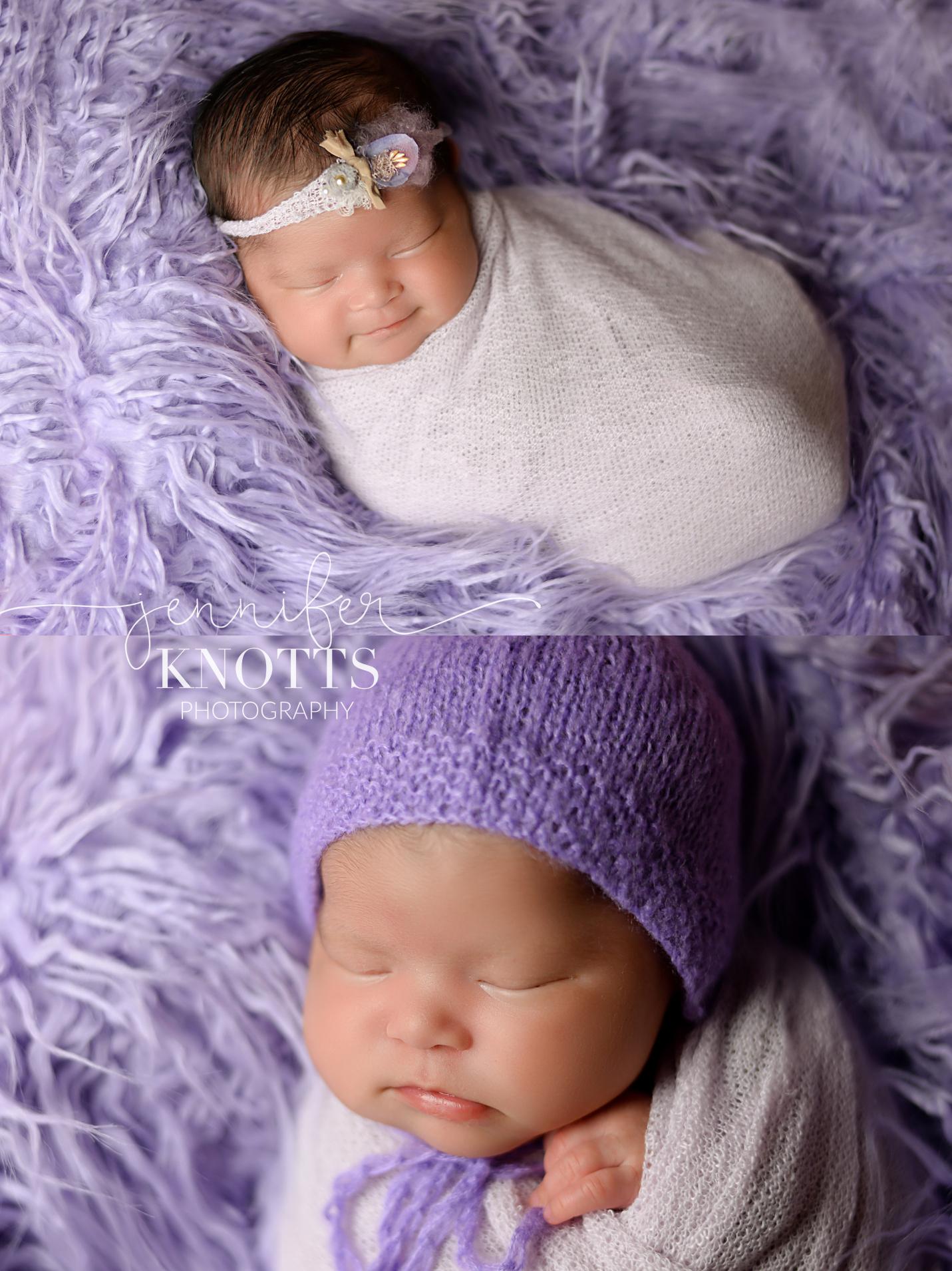 newborn girl sleeps on purple fur during Wilmington nc newborn session