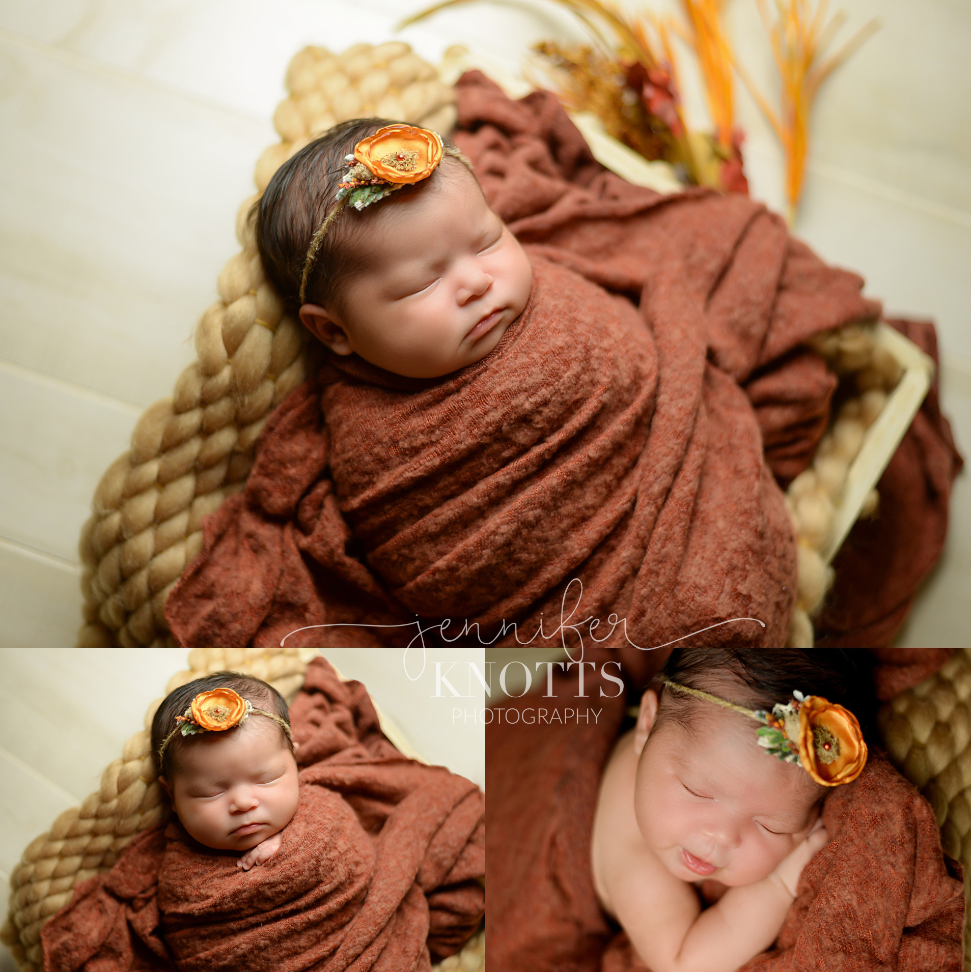baby girl wrapped in fall colors wearing flower headband