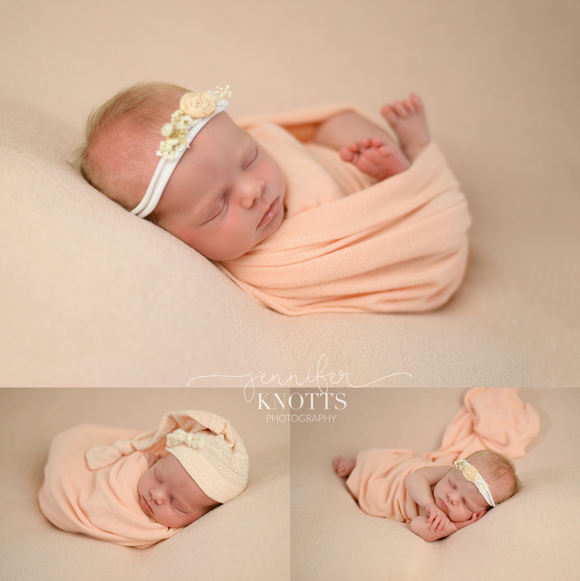 baby girl wrapped in peach sleeps with floral headband and sleepy hat
