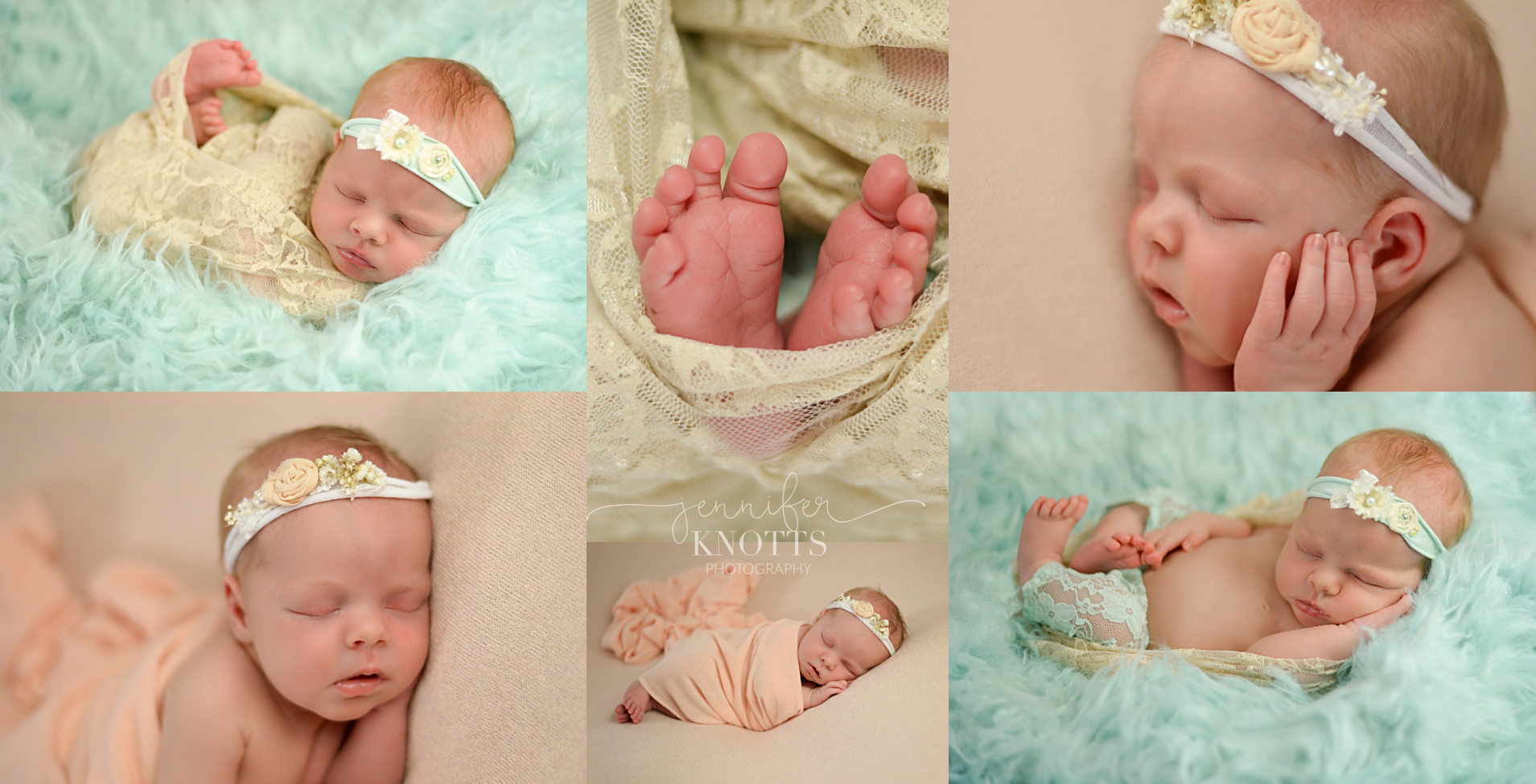 baby girl sleeps with feet exposed in color palette of beach and mint