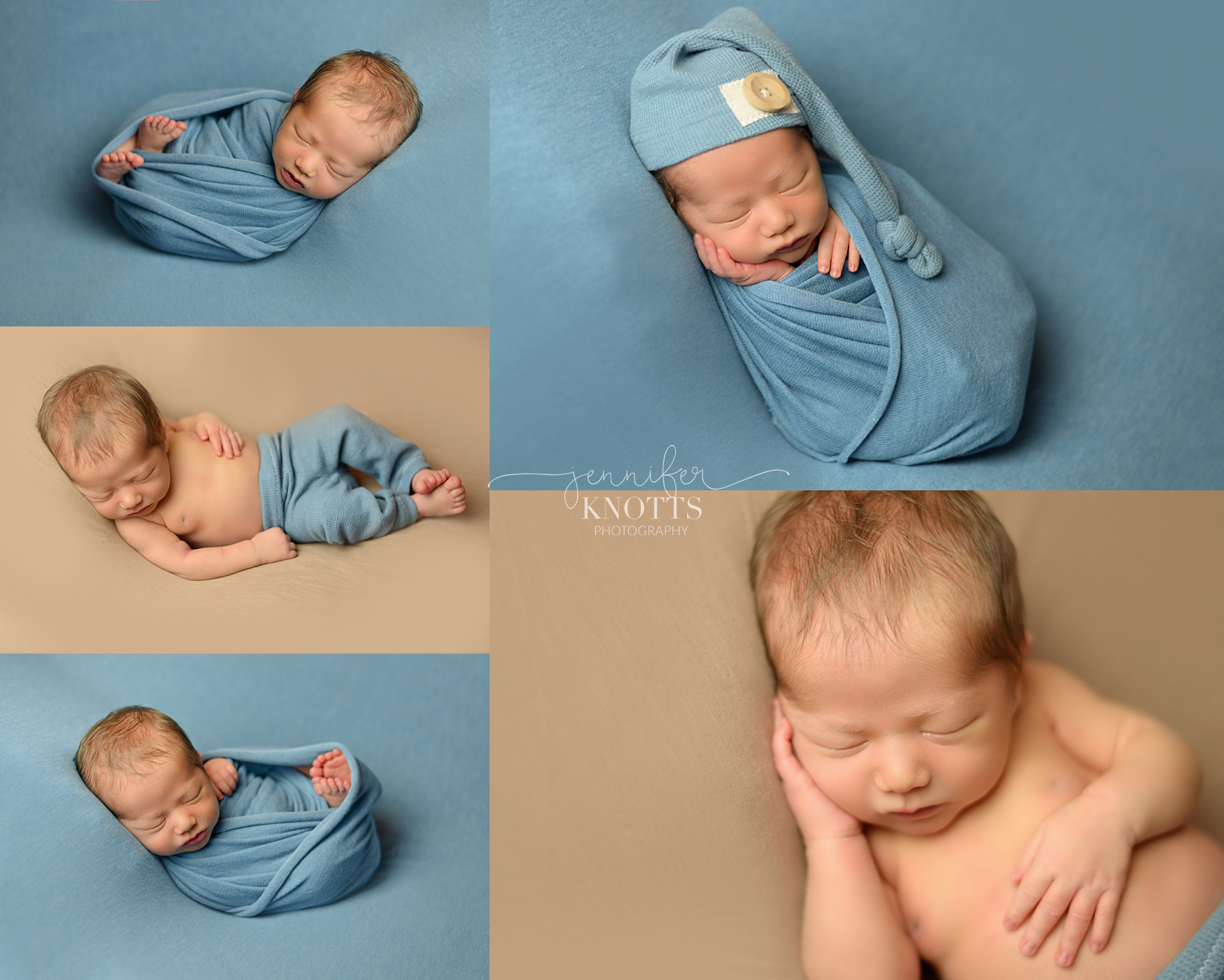newborn boy wrapped in blue fabric during Wilmington nc session