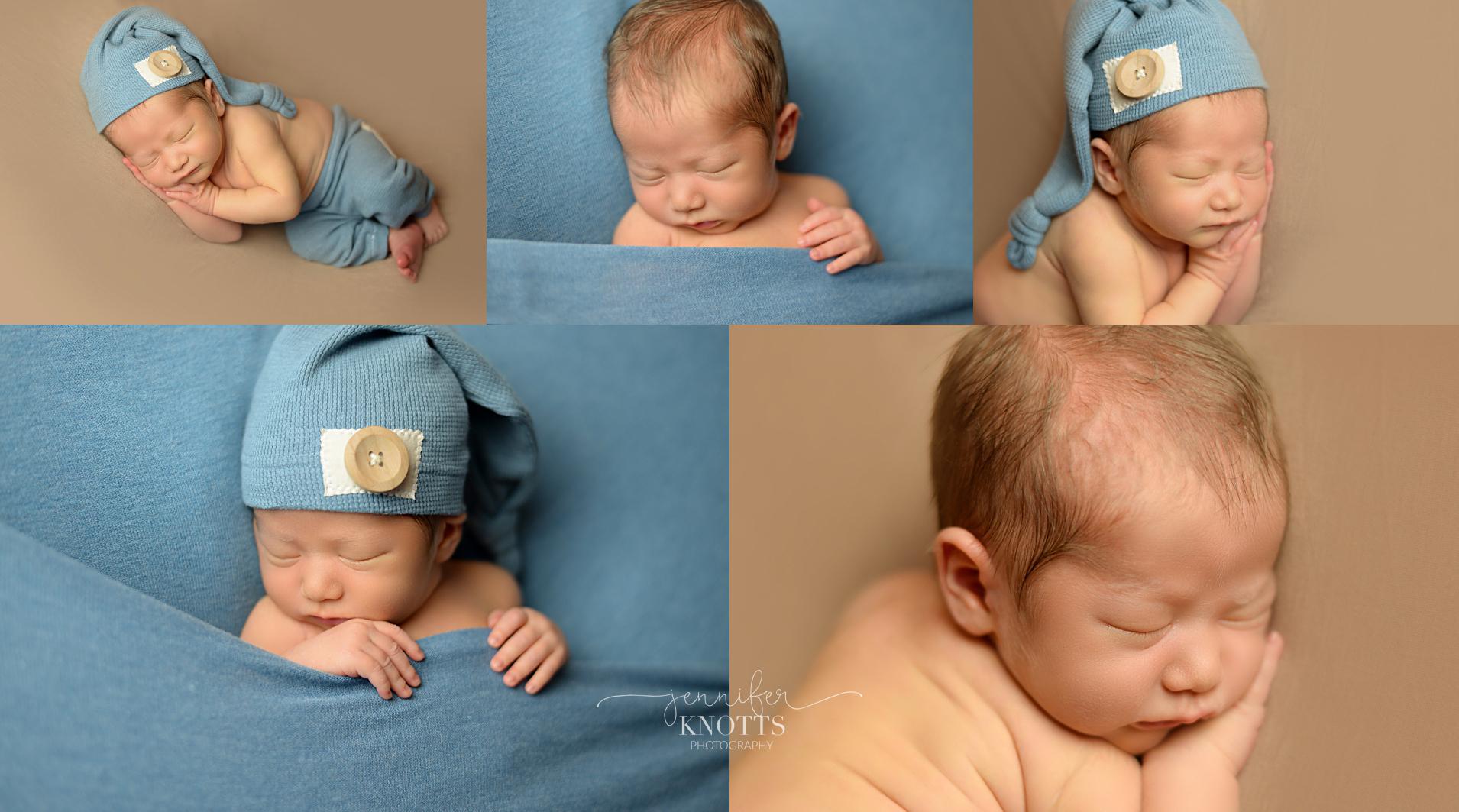 Wilmington newborn photographer captures baby boy with blue sleepy cap