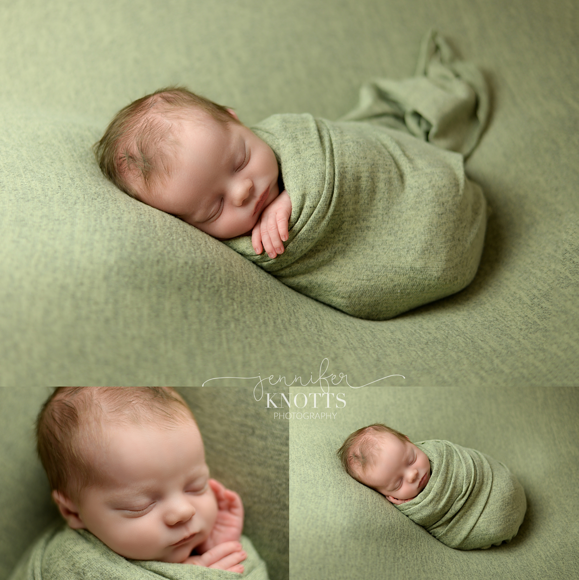 newborn boy wrapped in green during Wilmington nc newborn session