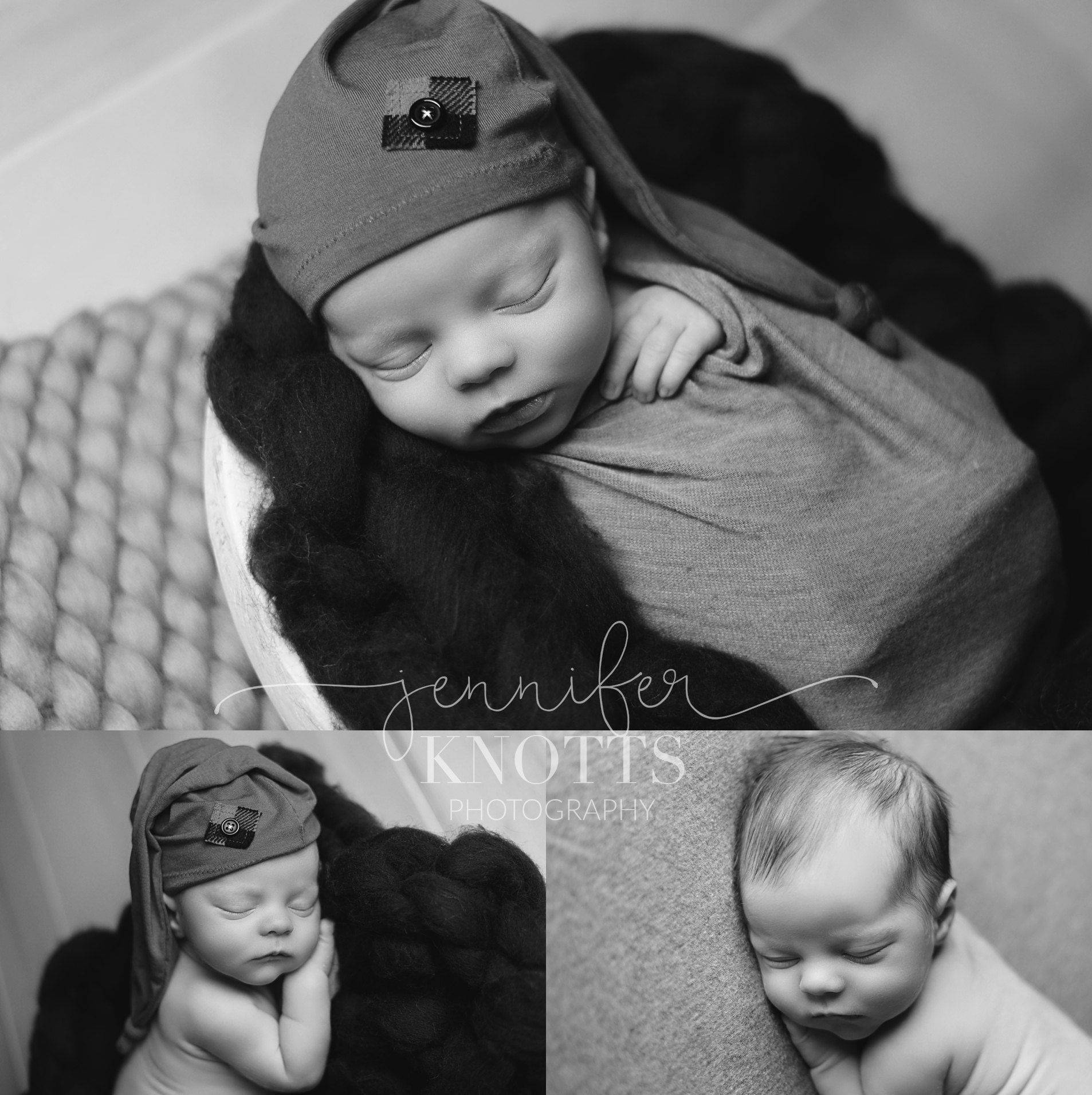 Wilmington newborn photographer captures black and white images of baby boy sleeping