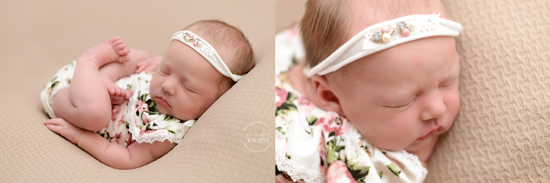 Wilmington photographer captures newborn girl sleeping on tan background wearing floral romper