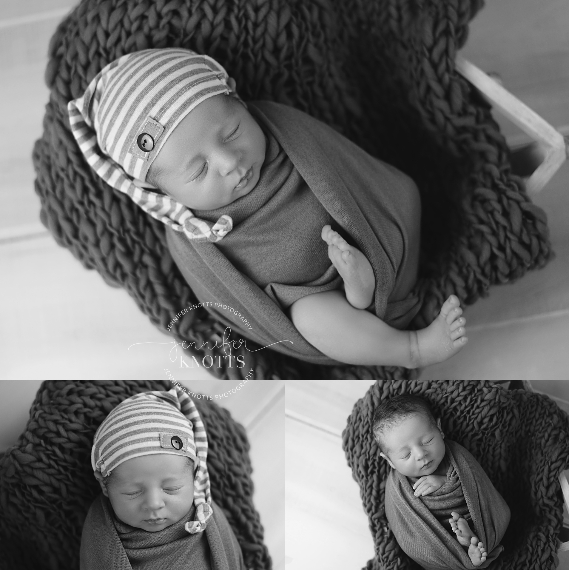 black and white images of baby boy with sleepy cap