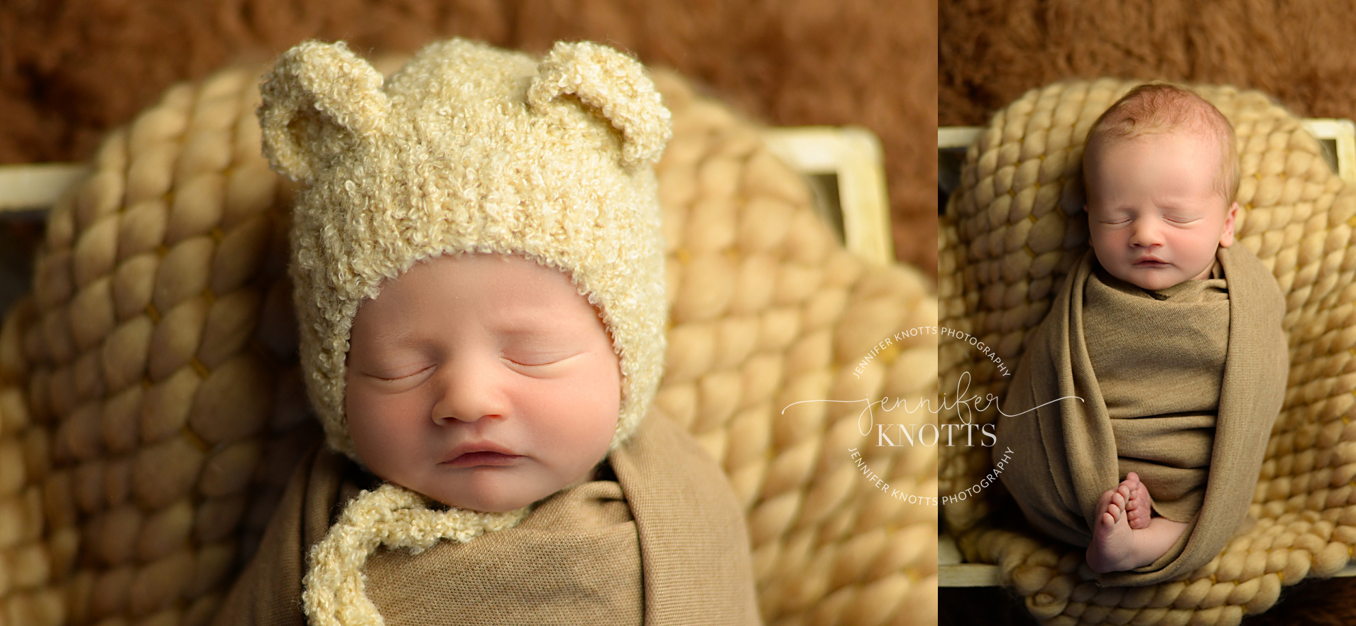newborn boy sleeps with bear bonnet with tan color scheme