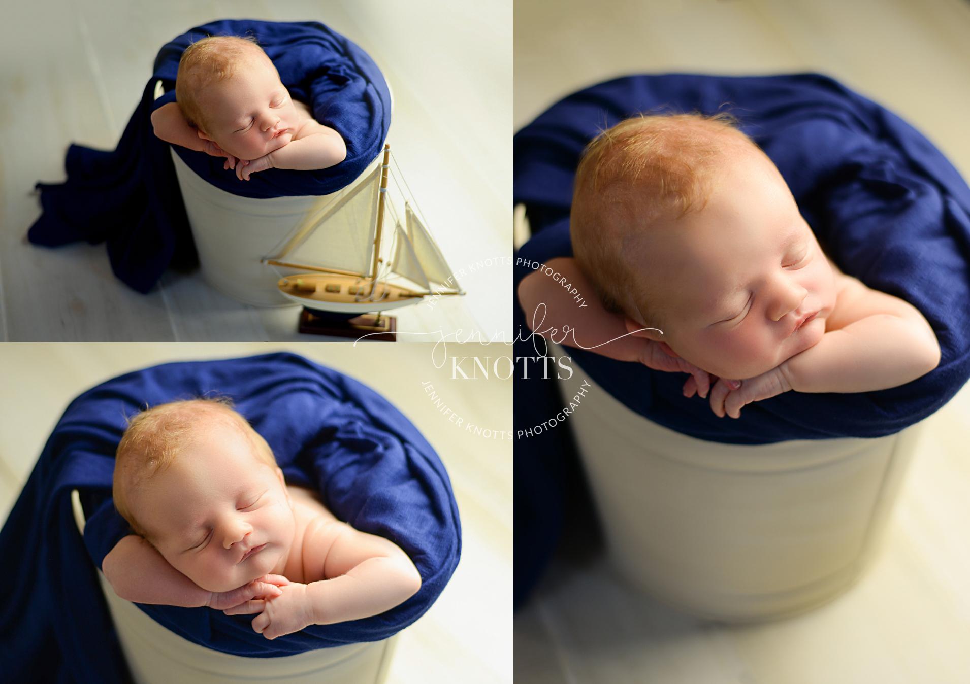 Wilmington newborn photographer captures newborn sleeping in bucket
