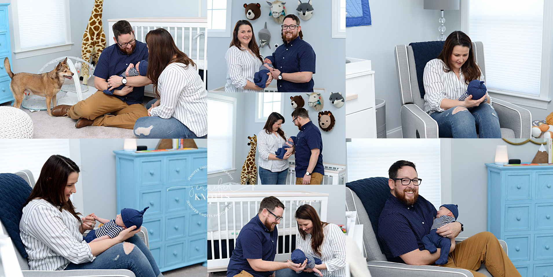 parents cuddle newborn son in blue and white Wilmington nc nursery