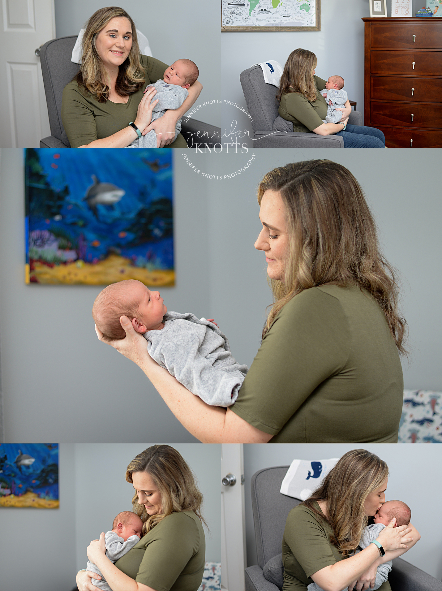 mom holds newborn baby boy in sea animal themed nursery in Wilmington nc