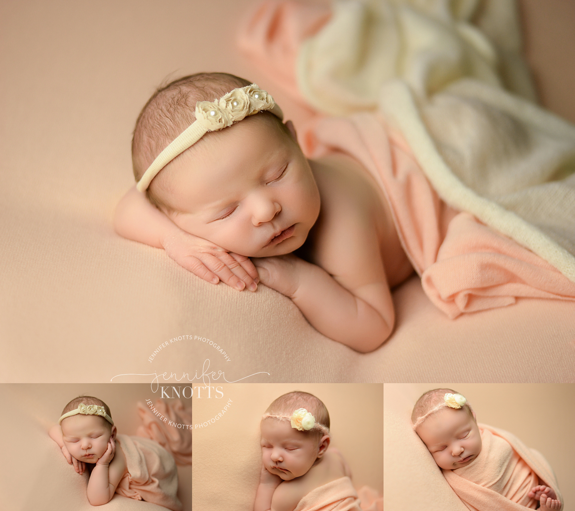 newborn photographer captures baby girl sleeping on peach fabric in Wilmington nc
