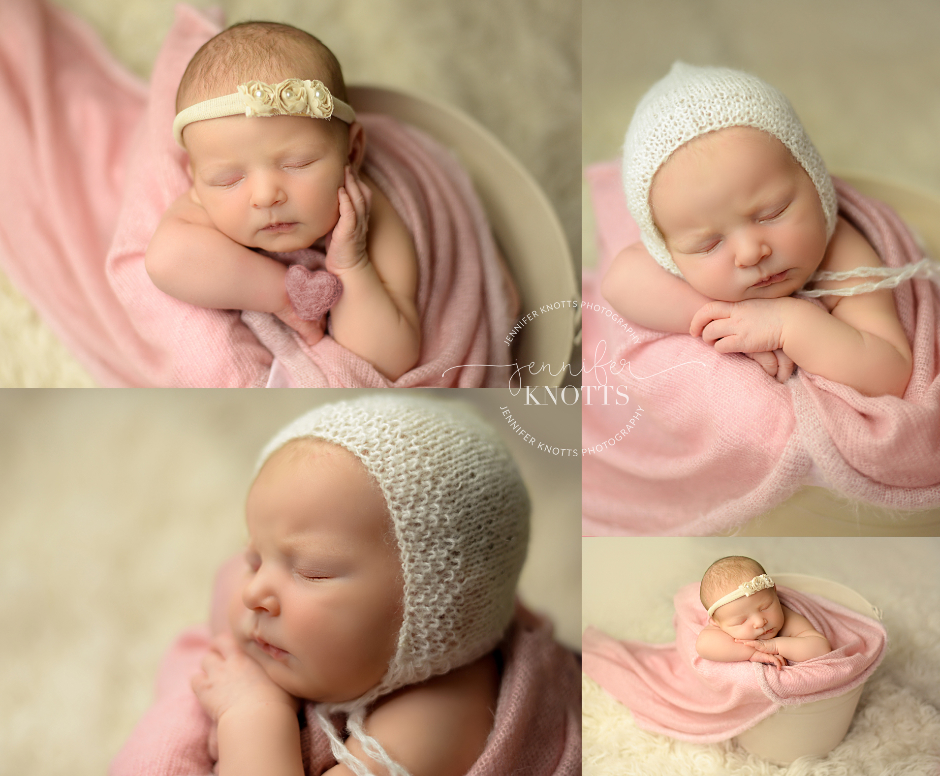 Wilmington newborn photographer captures baby girl sleeping in cream bucket