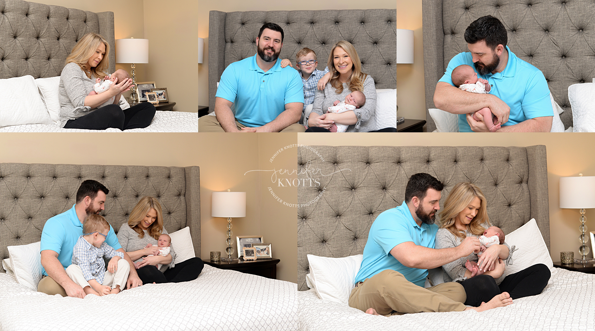 family of four cuddle baby on bed during Wilmington newborn session