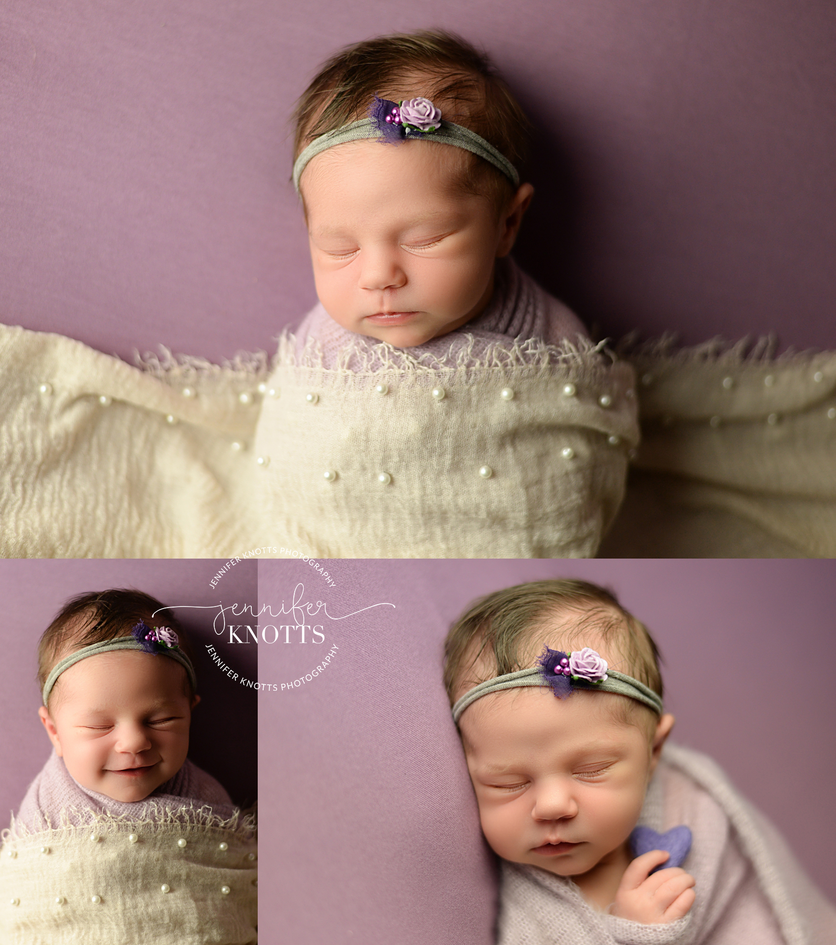 Baby girl sleeps on purple fabric during Wilmington newborn session