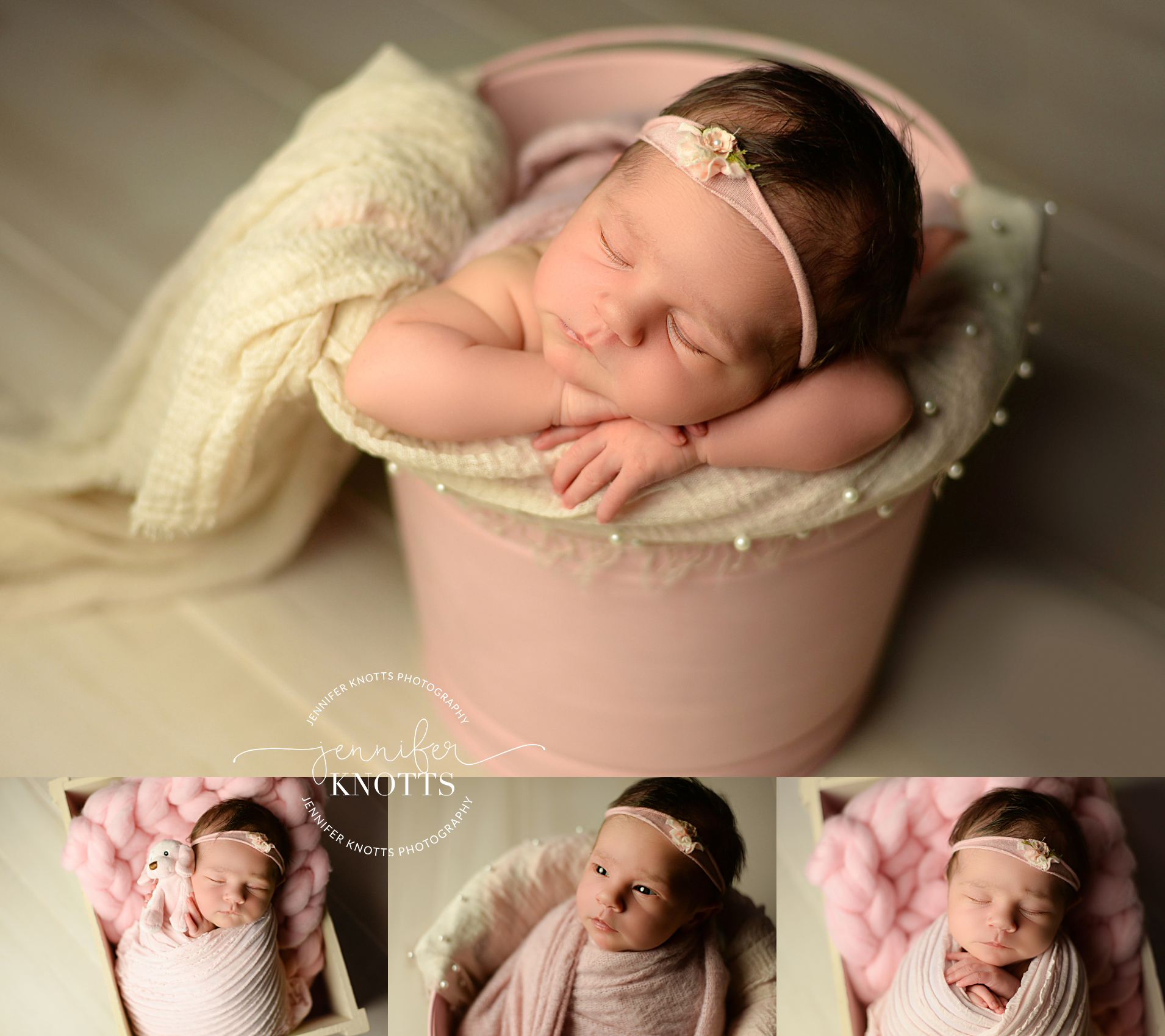 Newborn girl sleeps on pink and cream bucket during Wilmington photography session
