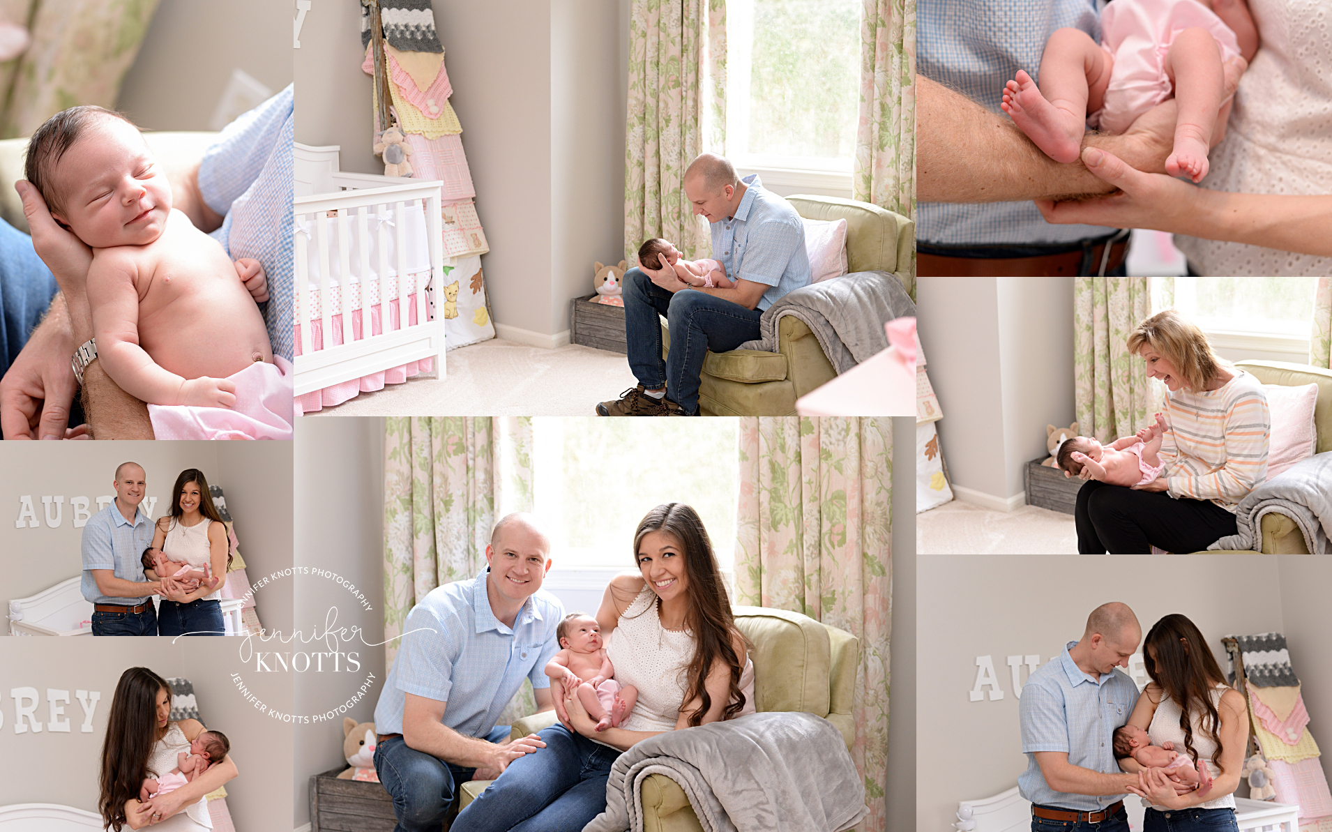 Newborn girl cuddled by parents in pink and green nursery