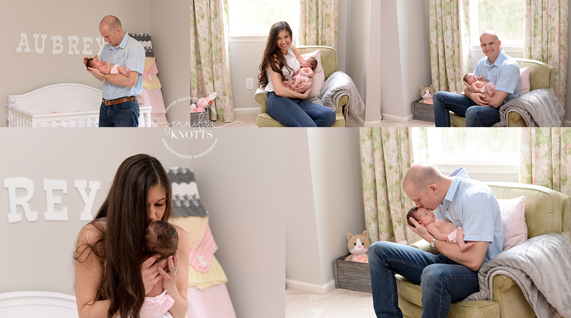 Mom and dad cuddle newborn daughter in beautiful nursery