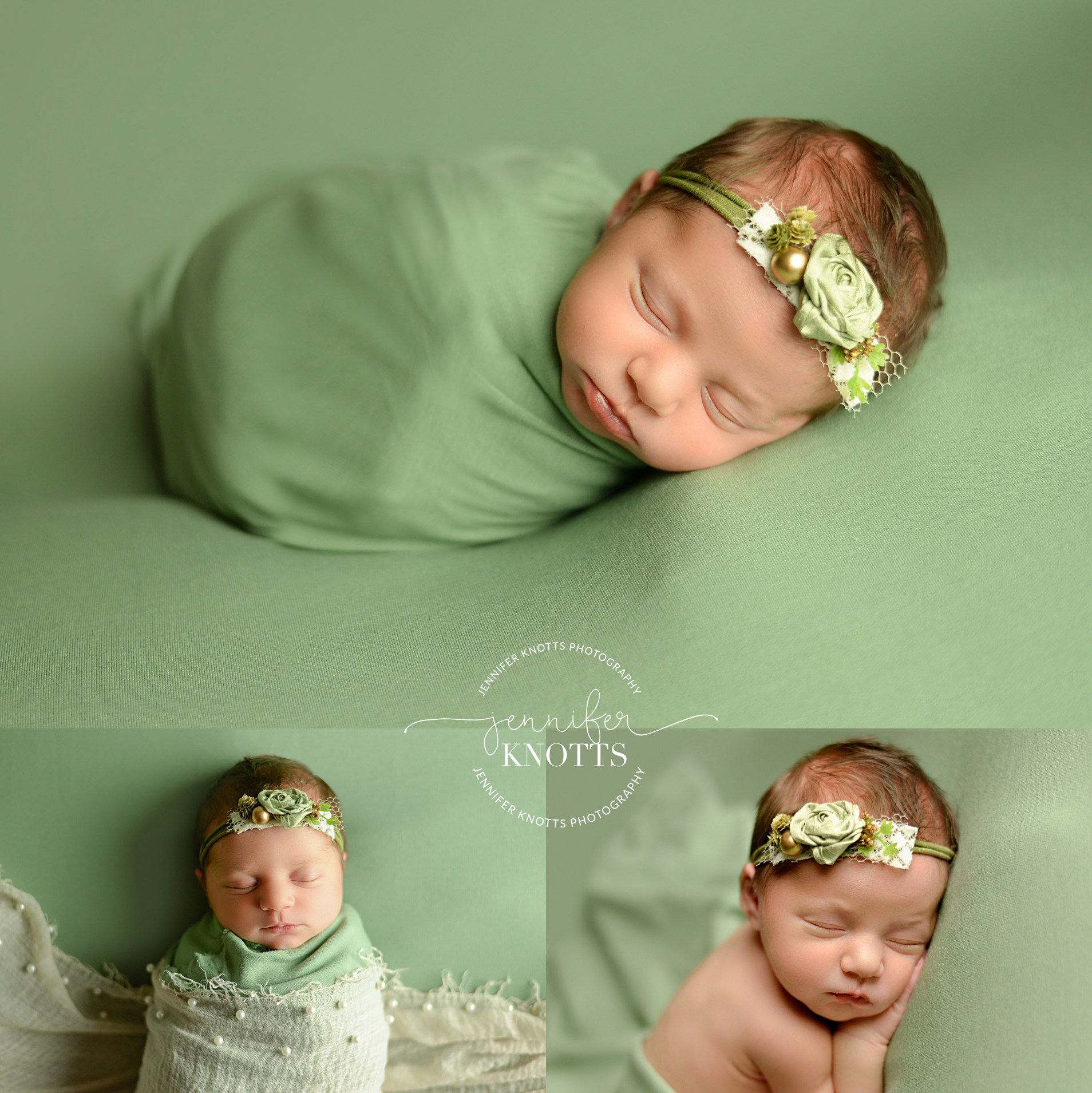 newborn girl posed on green fabric with pearl and floral accents