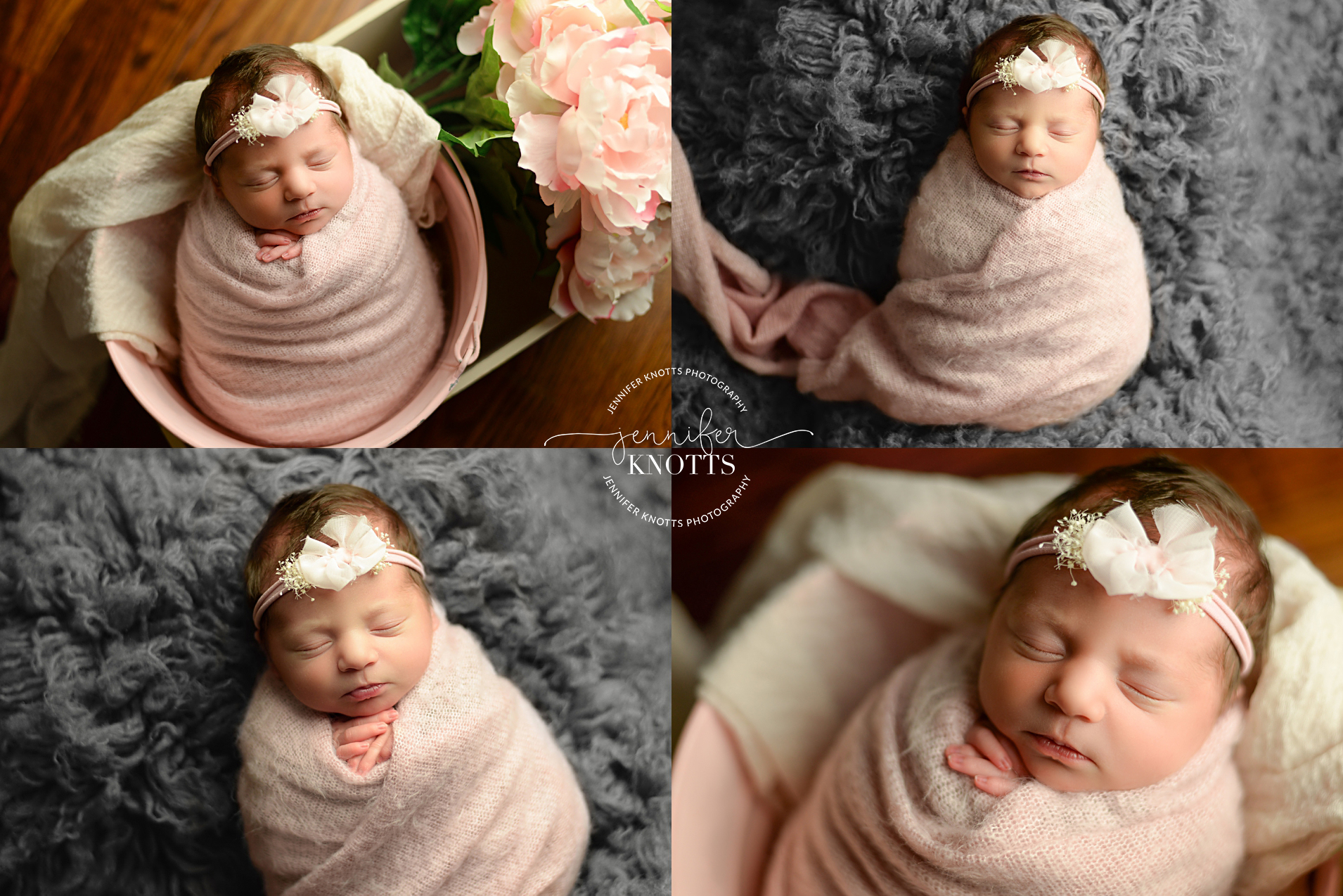 newborn girl wrapped in pink during Wilmington photography session