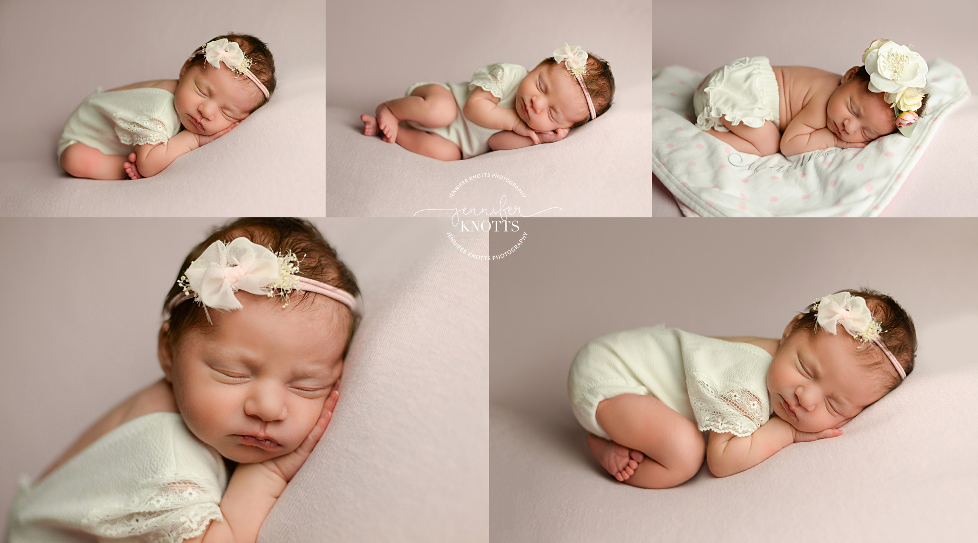 baby girl sleeps on pink fabric wearing cream romper during Wilmington newborn session