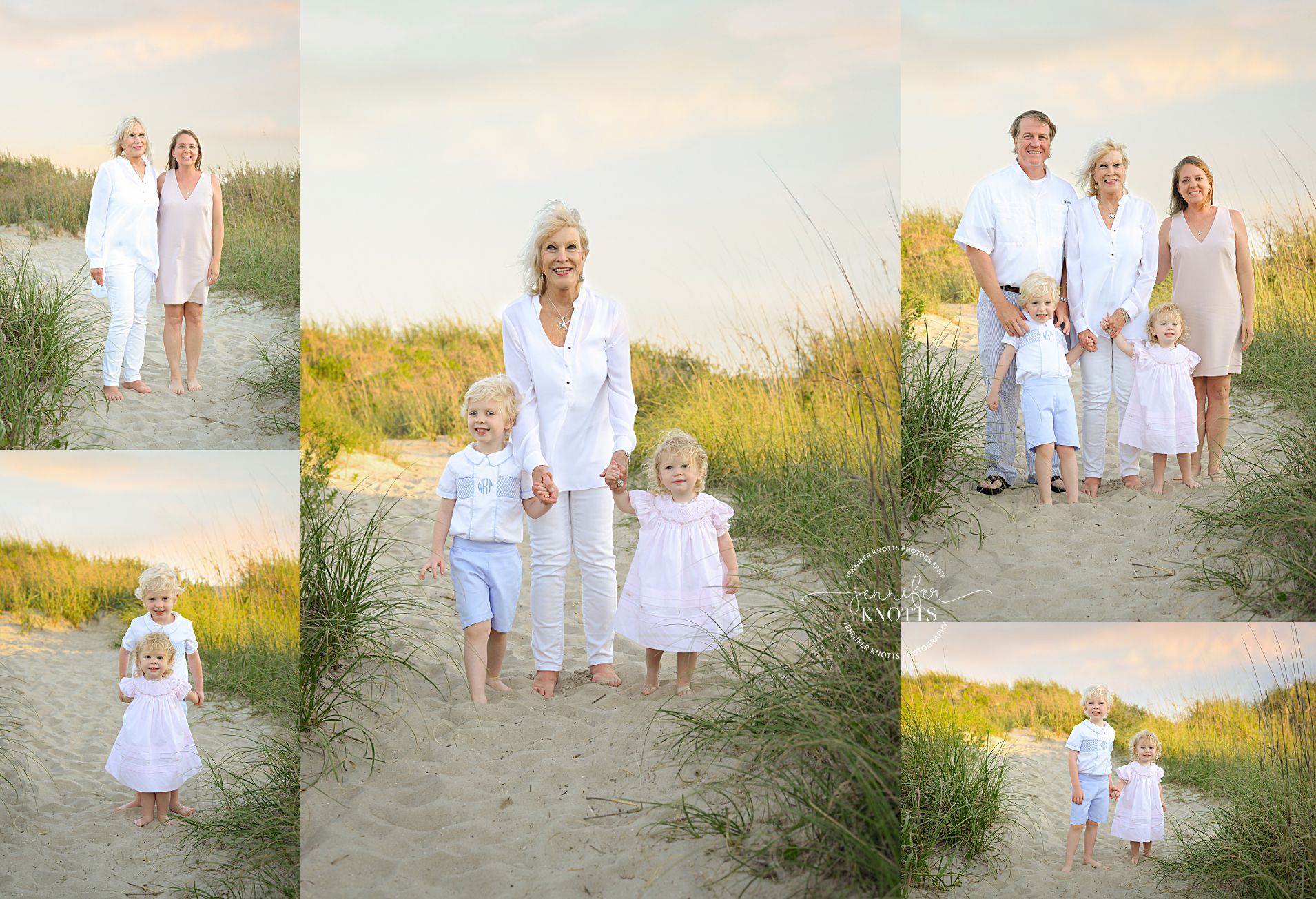 grandmother and family take portraits on the beach at oak island nc