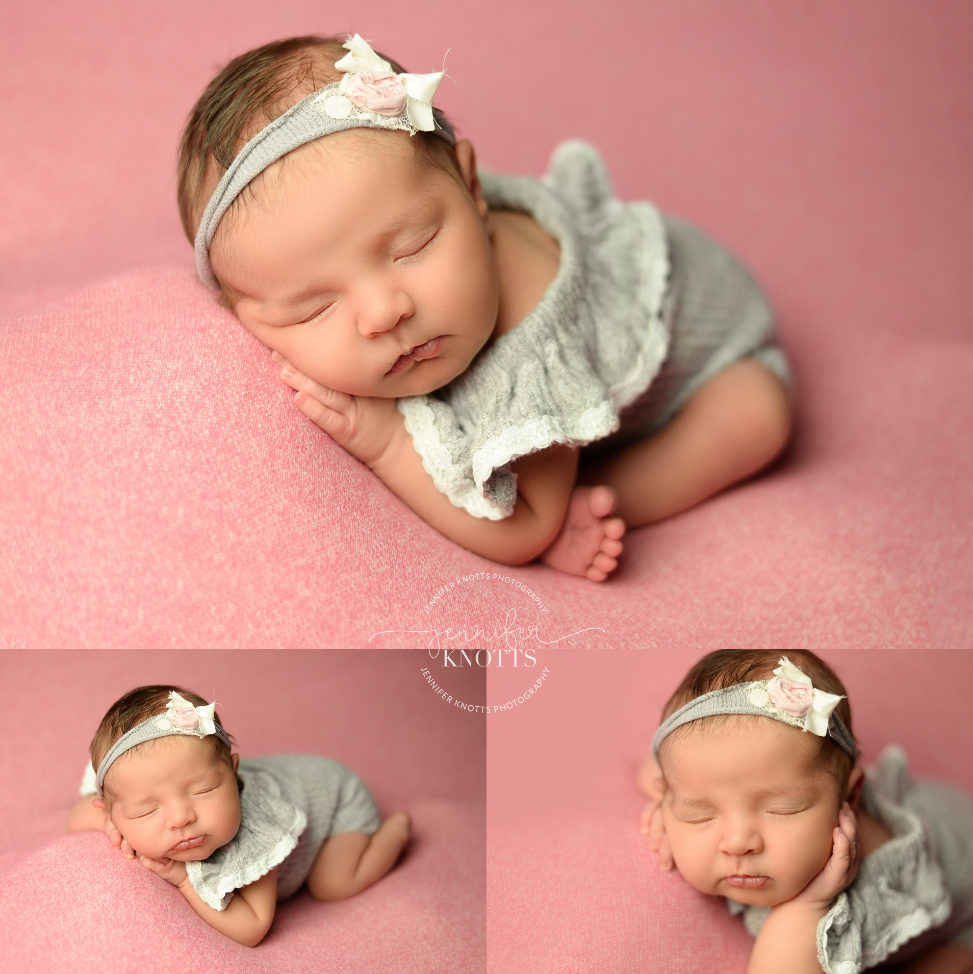 Baby girl poses on pink fabric while wearing gray romper