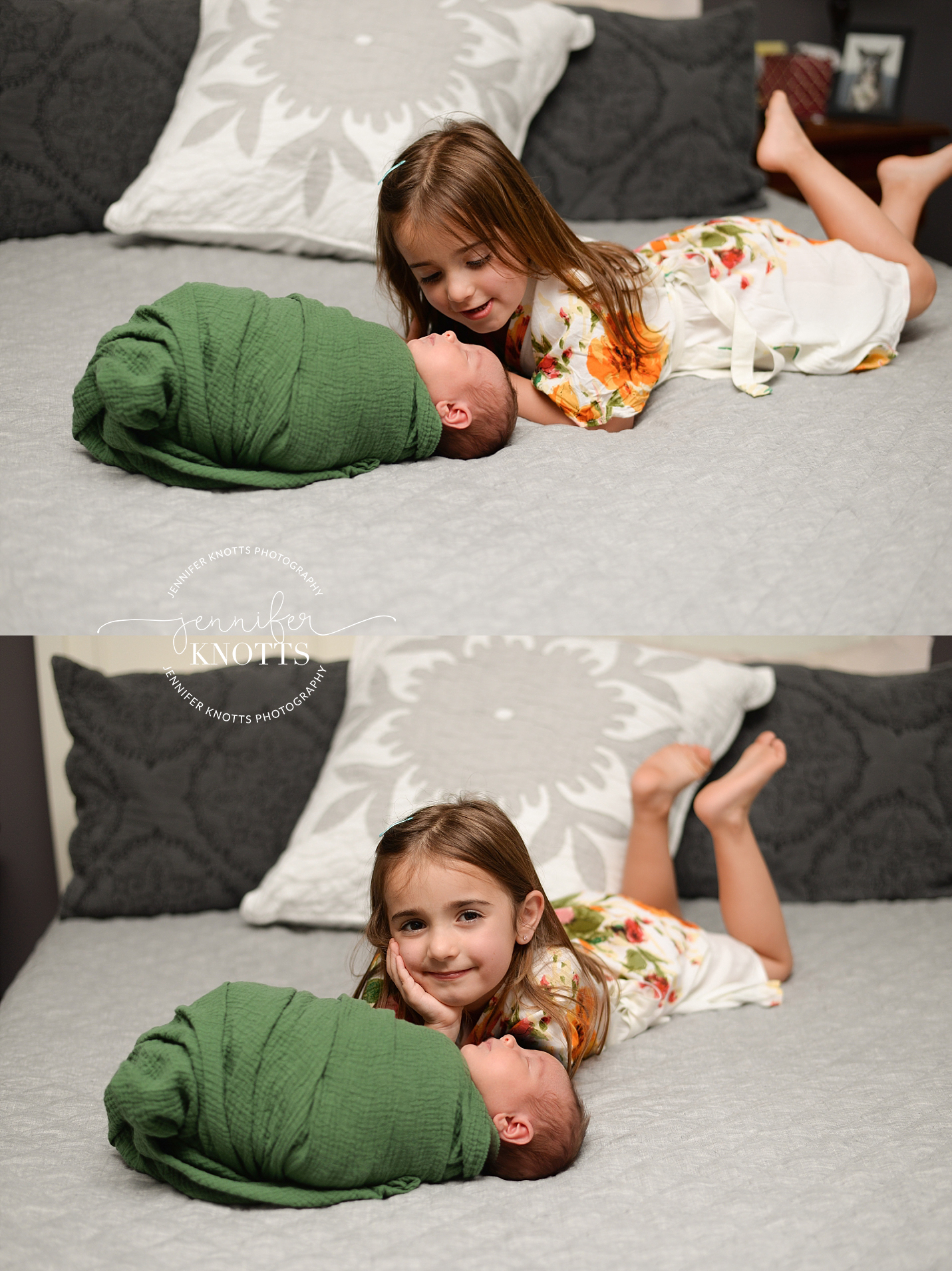 big sister on bed with newborn sister wrapped in green