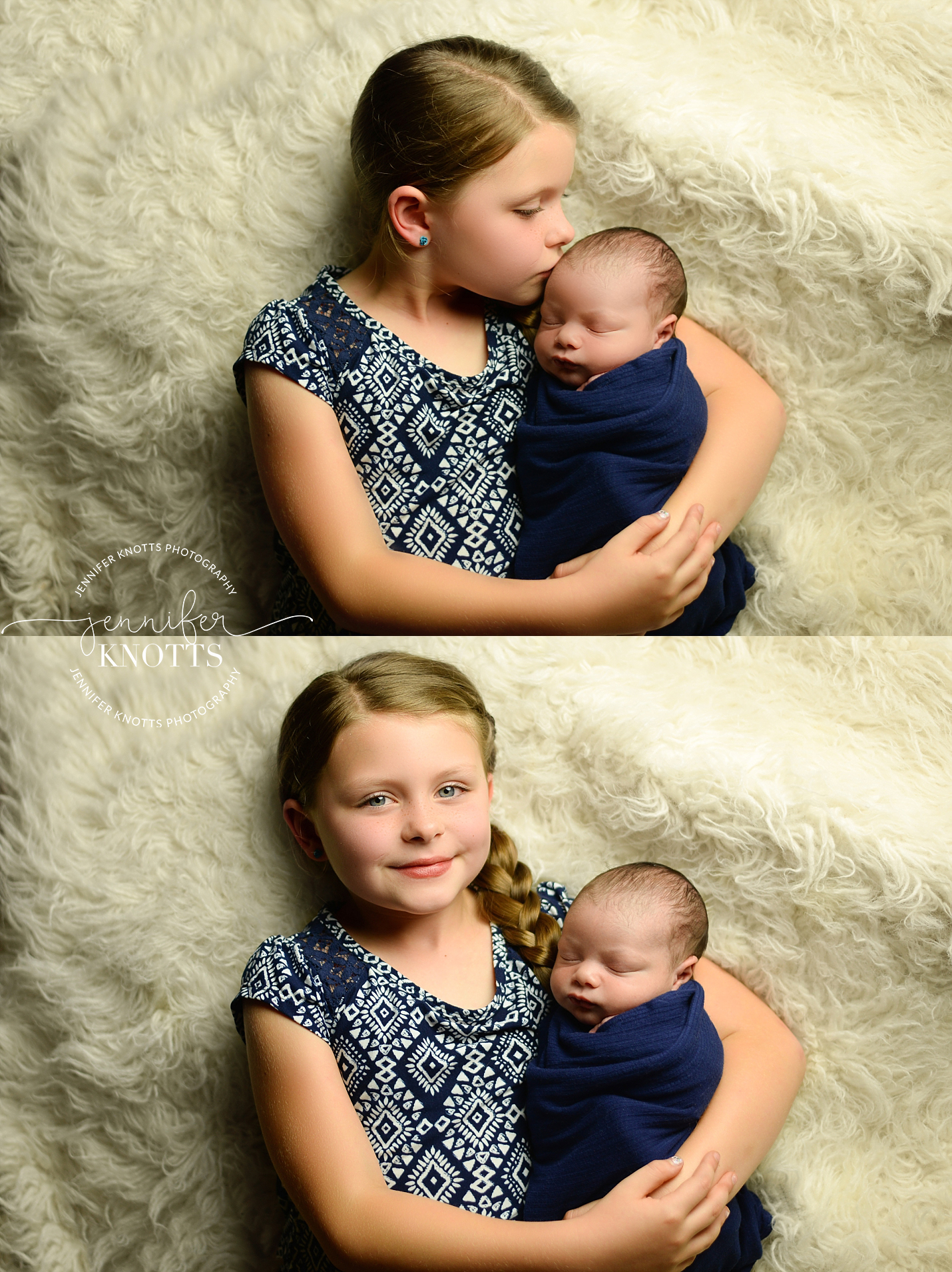 big sister dressed in blue cuddles newborn brother