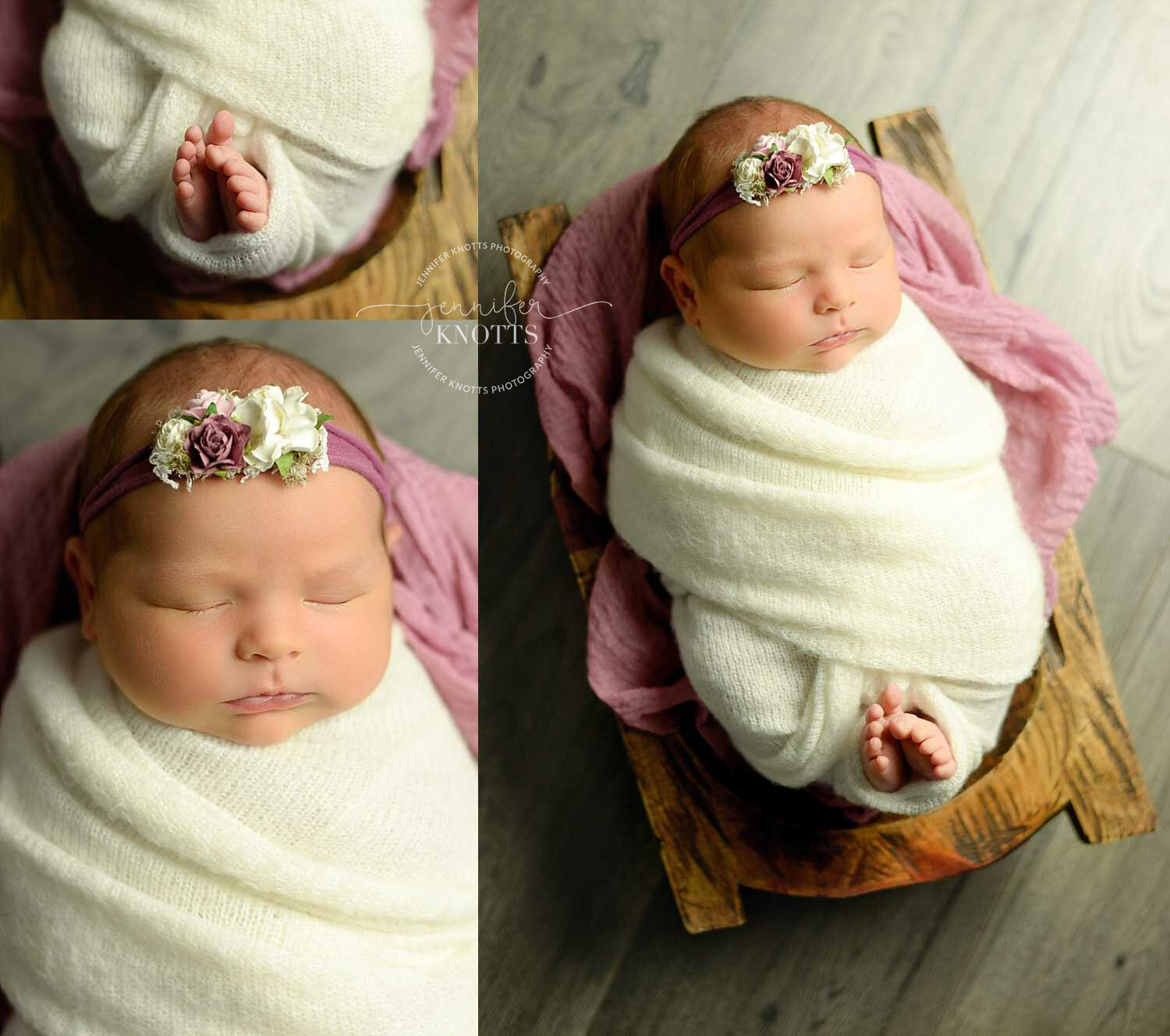 baby girl wrapped with toes peeking out sleeps in wooden bowl