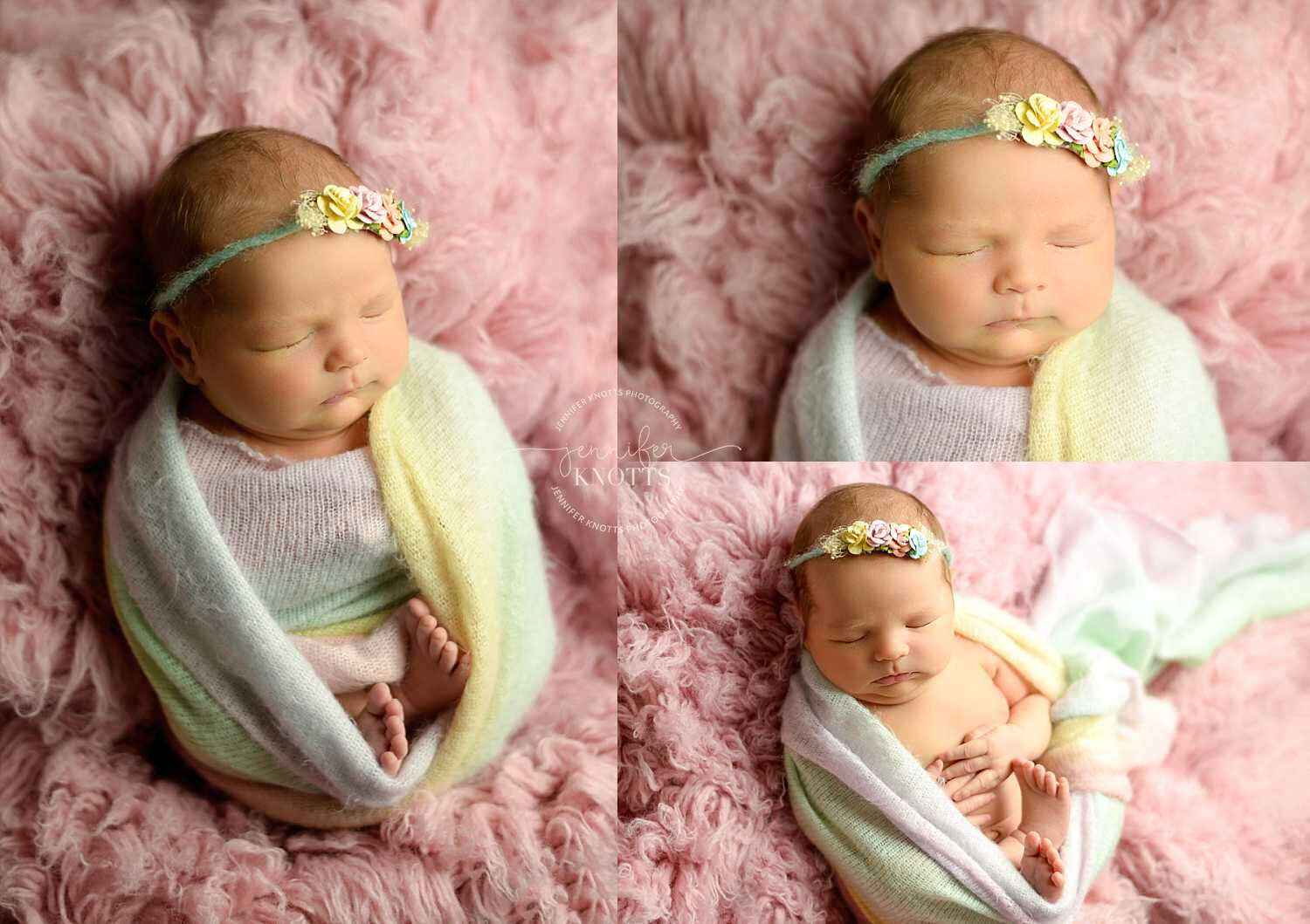 newborn girl wrapped in rainbow fabric on pink fur