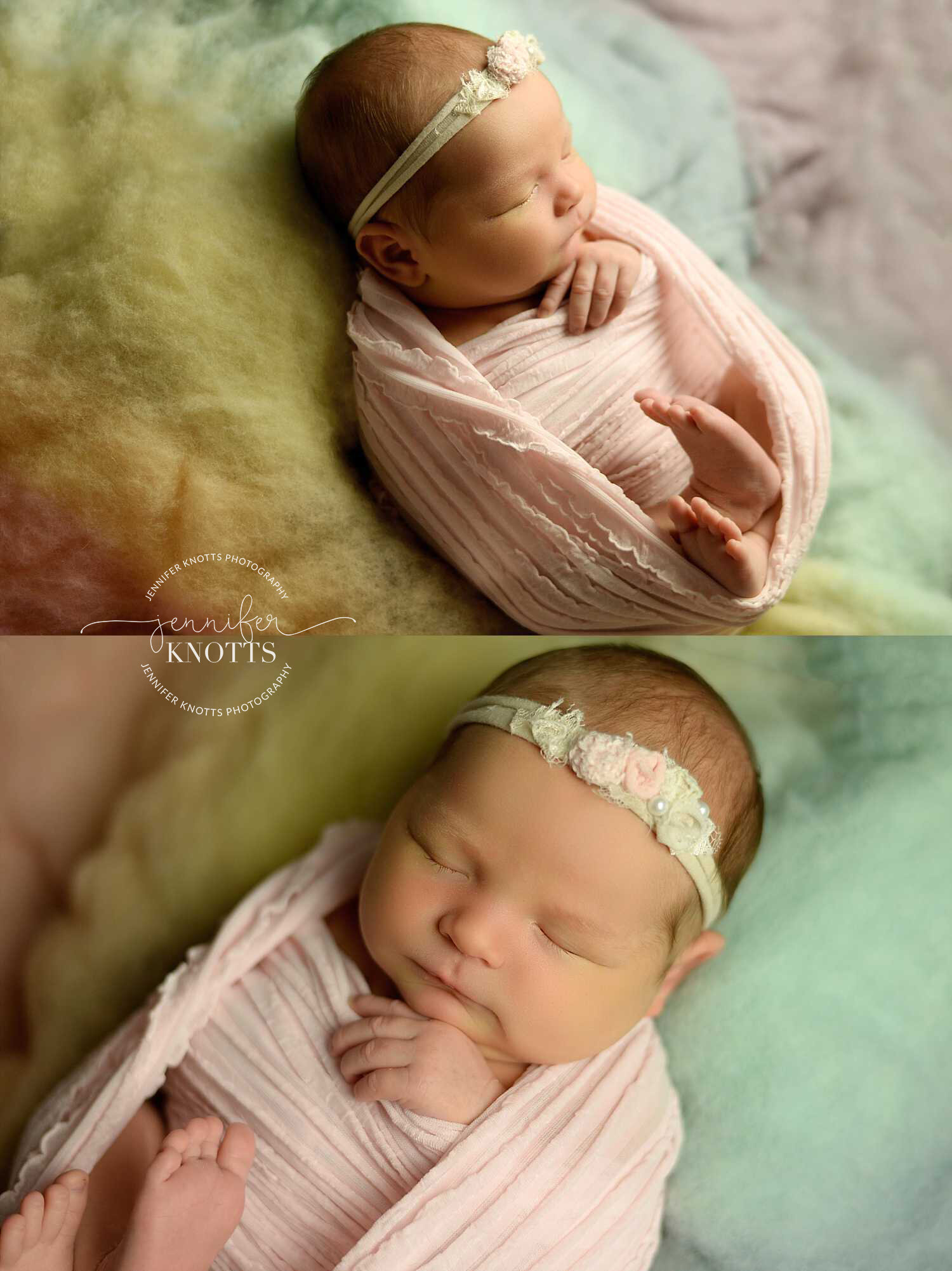 wilmington newborn photographer captures baby girl resting on rainbow colors