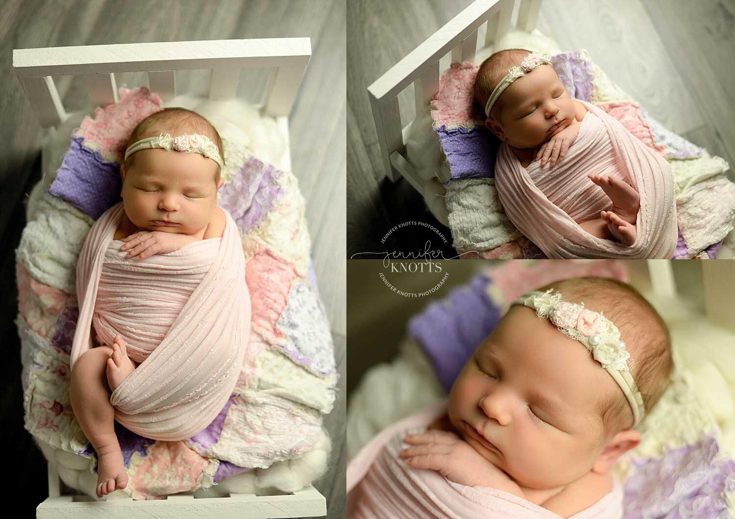 newborn baby girl posed on purple and pink quilt and wooden bed