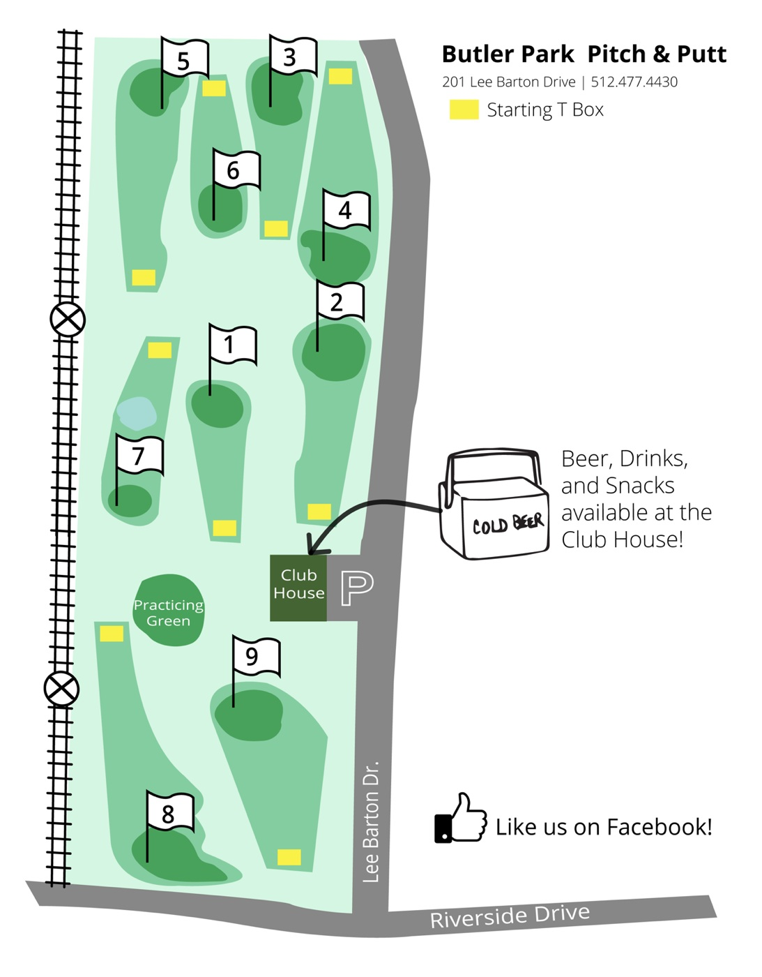 MAP REDESIGN -  Our new map design was created to be easy to read from the clubhouse. Additionally, the owner mentioned the desire to grow their audience on Facebook and sales from refreshments.