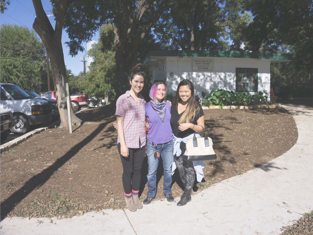 Celine, Misty, and I outside of Pitch and Putt during our last walk through. We had a blast working on this project during our time at AC4D.