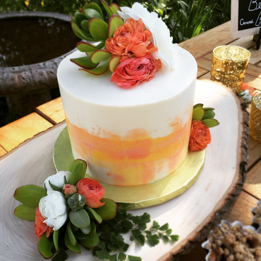 Watercolor Buttercream Wedding Cake
