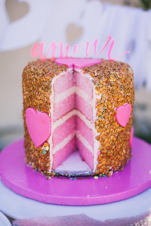 "Playful Pink Ombre Cake with Gold ""Sequins"""