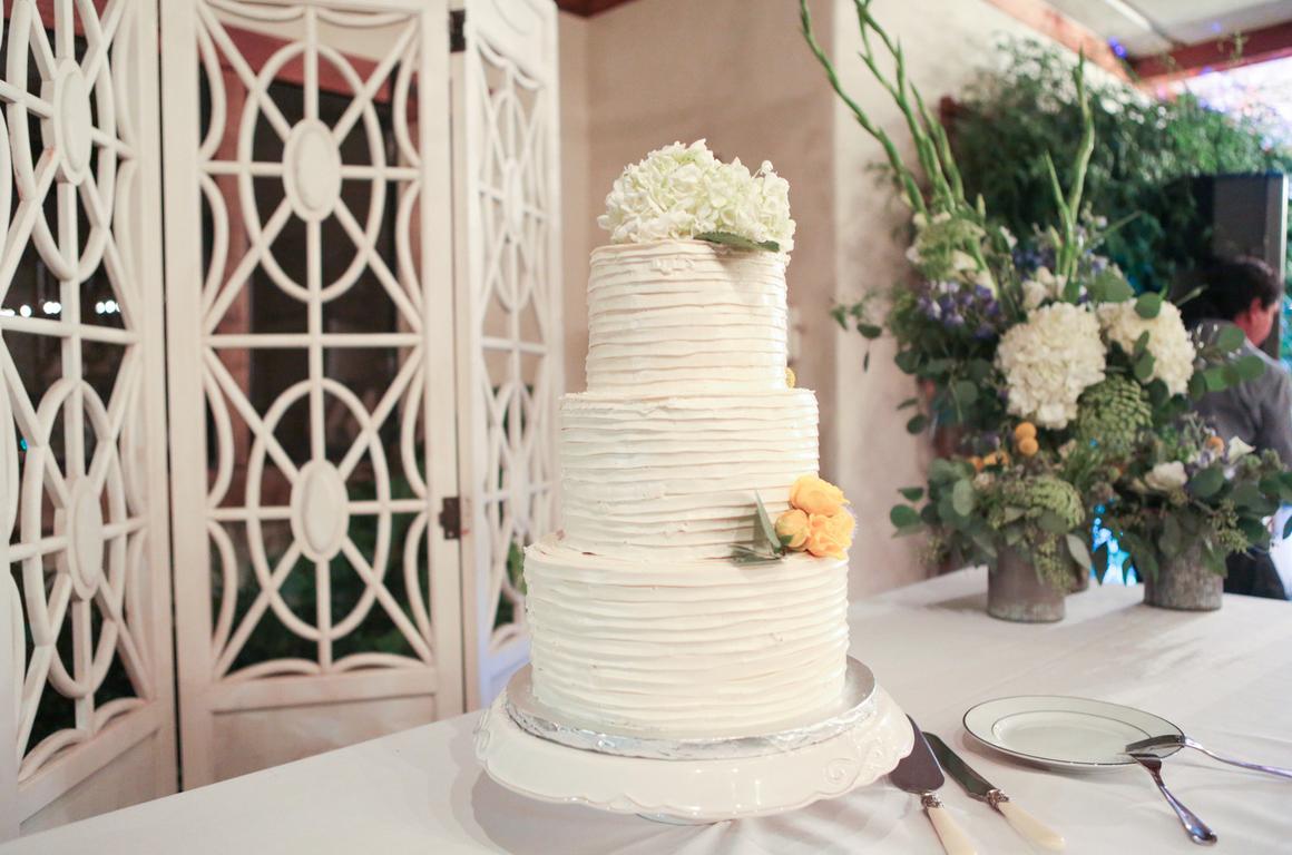 Tiered Wedding Cake with Pintuck Buttercream Ruffles