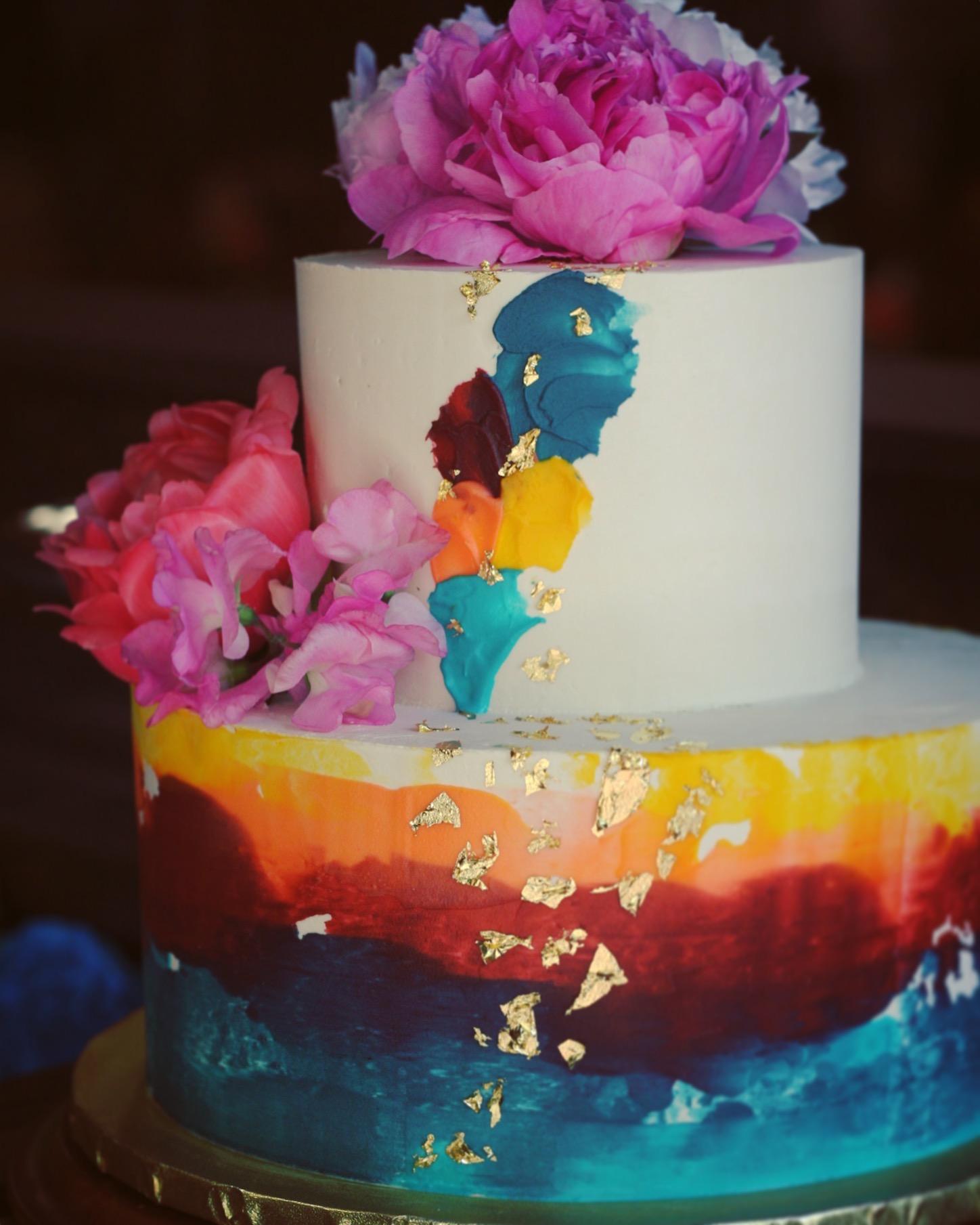 Bold Buttercream Watercolor Wedding Cake