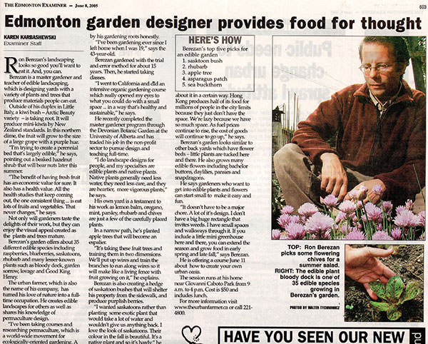 Edmonton Garden Designer Provides Food for Thought  The Edmonton Examiner - June 8, 2005
